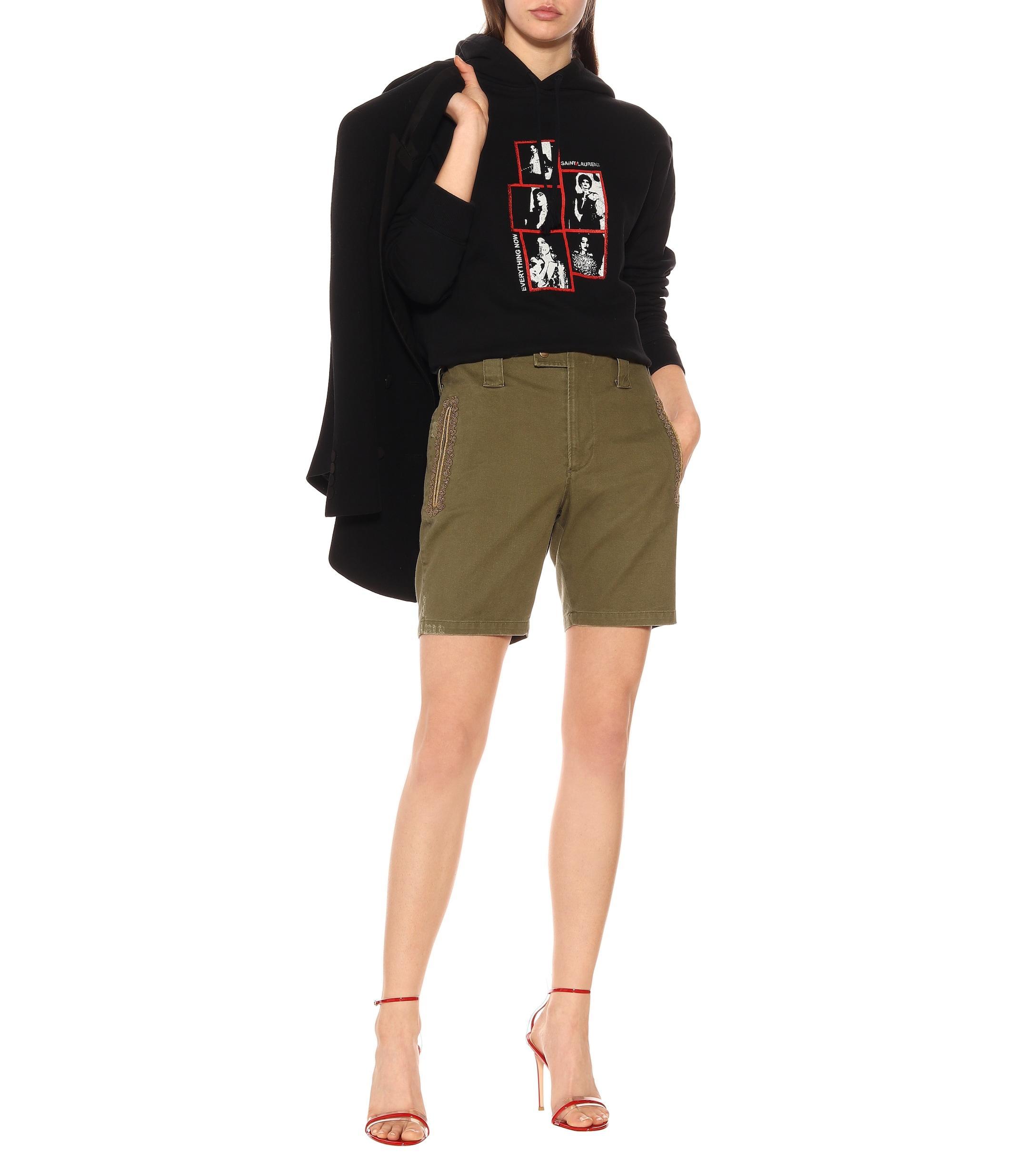 b2494ec7 saint-laurent-olive-Embroidered-Cotton-blend-Shorts.jpeg