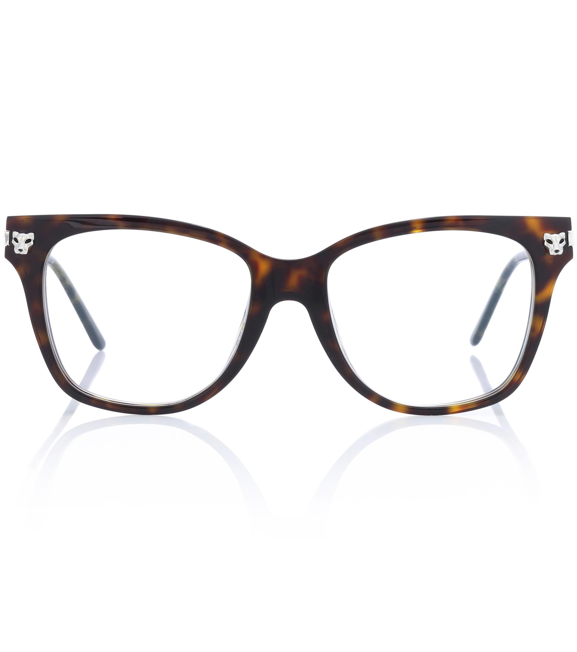 42dfc5f73b Cartier Panthère De Cartier Glasses in Brown - Lyst