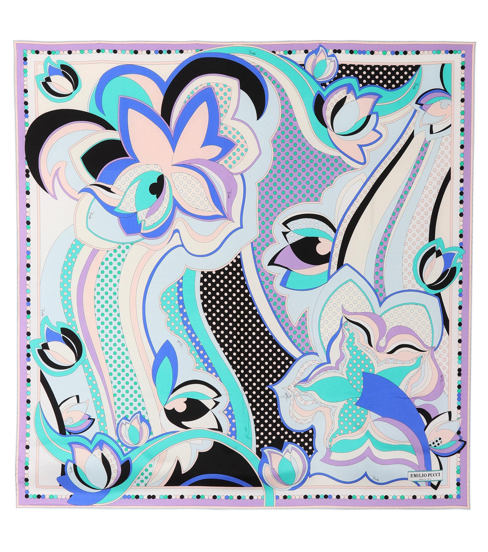 recherche d'authentique pas cher à vendre nouvelle arrivee Foulard en soie imprimée Emilio Pucci en coloris Blue