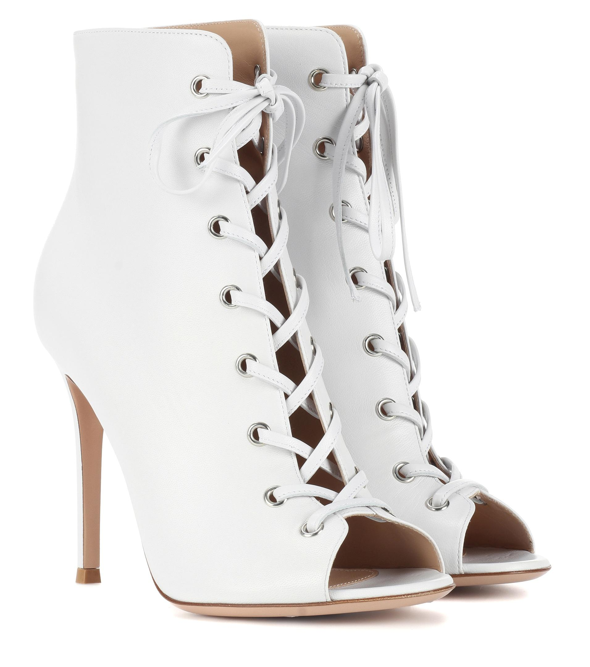 Gianvito Rossi Marie peep-toe leather ankle boots Ir7Cx7nlD