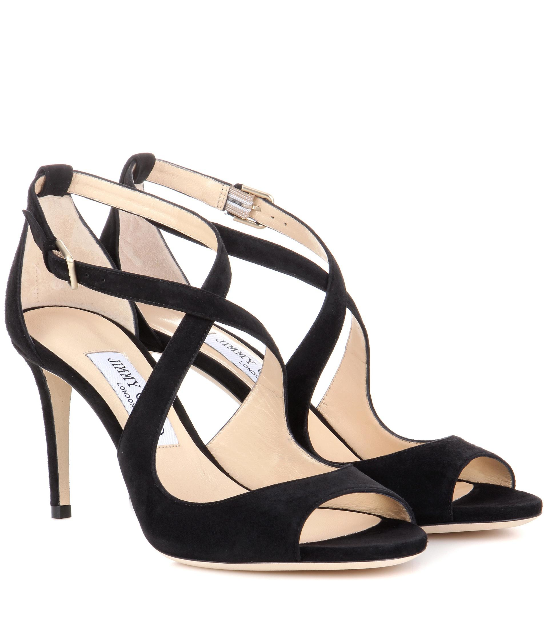 0a3d0c21ca9 Lyst - Jimmy Choo Emily 85 Suede Sandals in Black