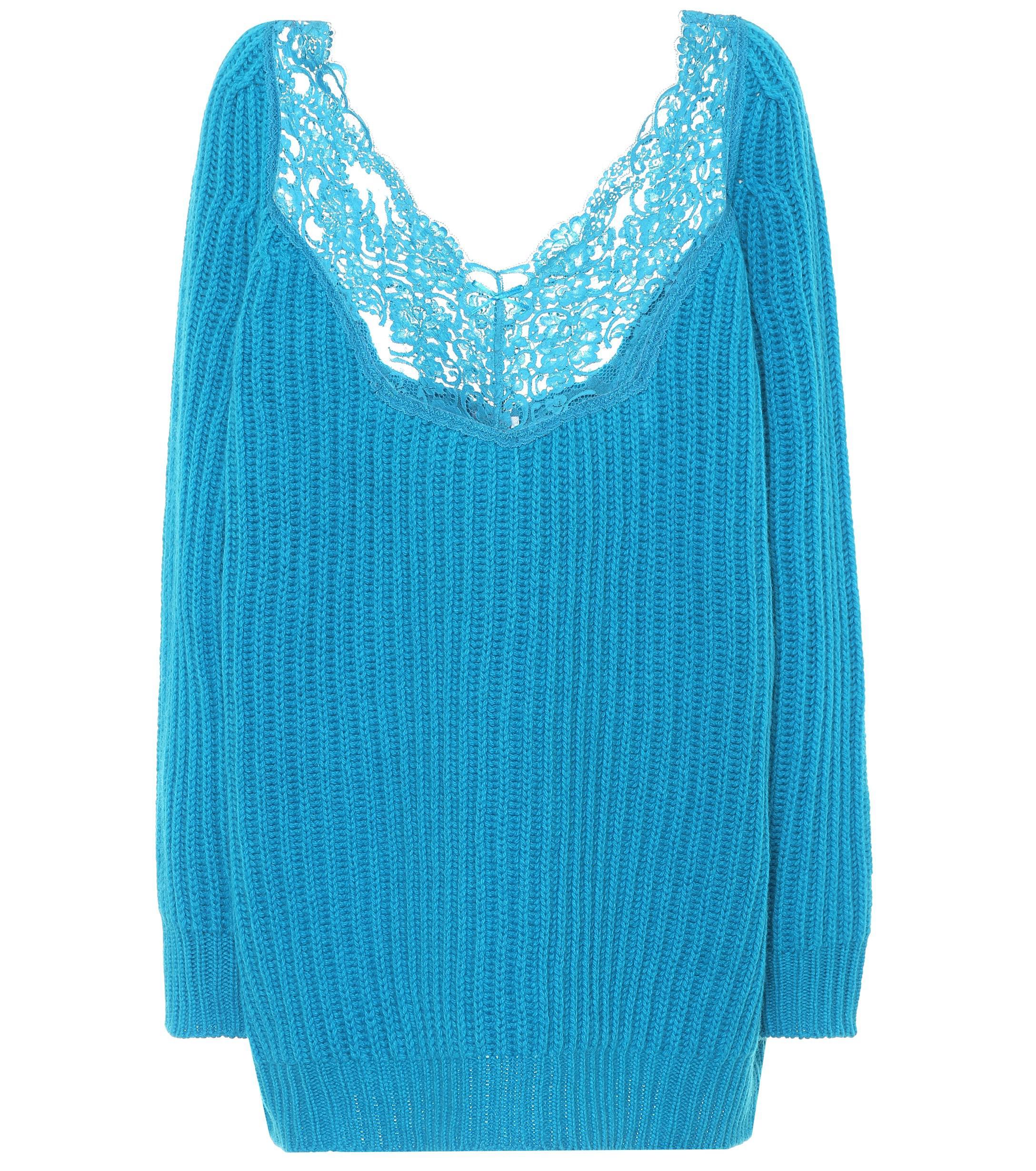 Balenciaga Lace-trimmed Wool Sweater in Blue - Lyst 510b472de