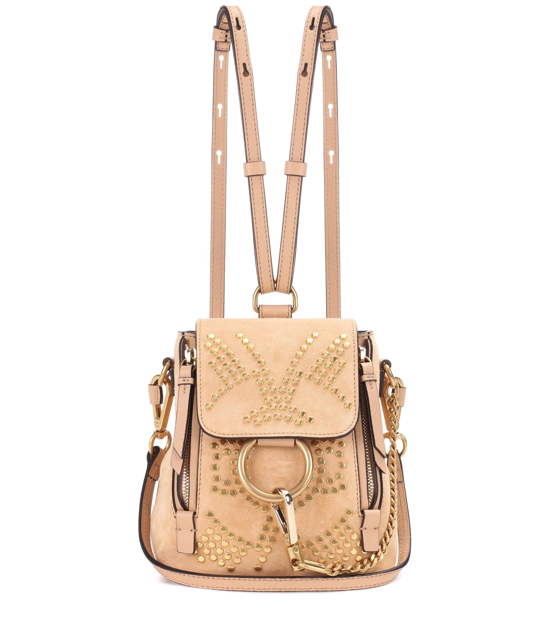 77c77cc7a3eb8 Chloé Faye Mini Studded Suede Backpack in Natural - Lyst