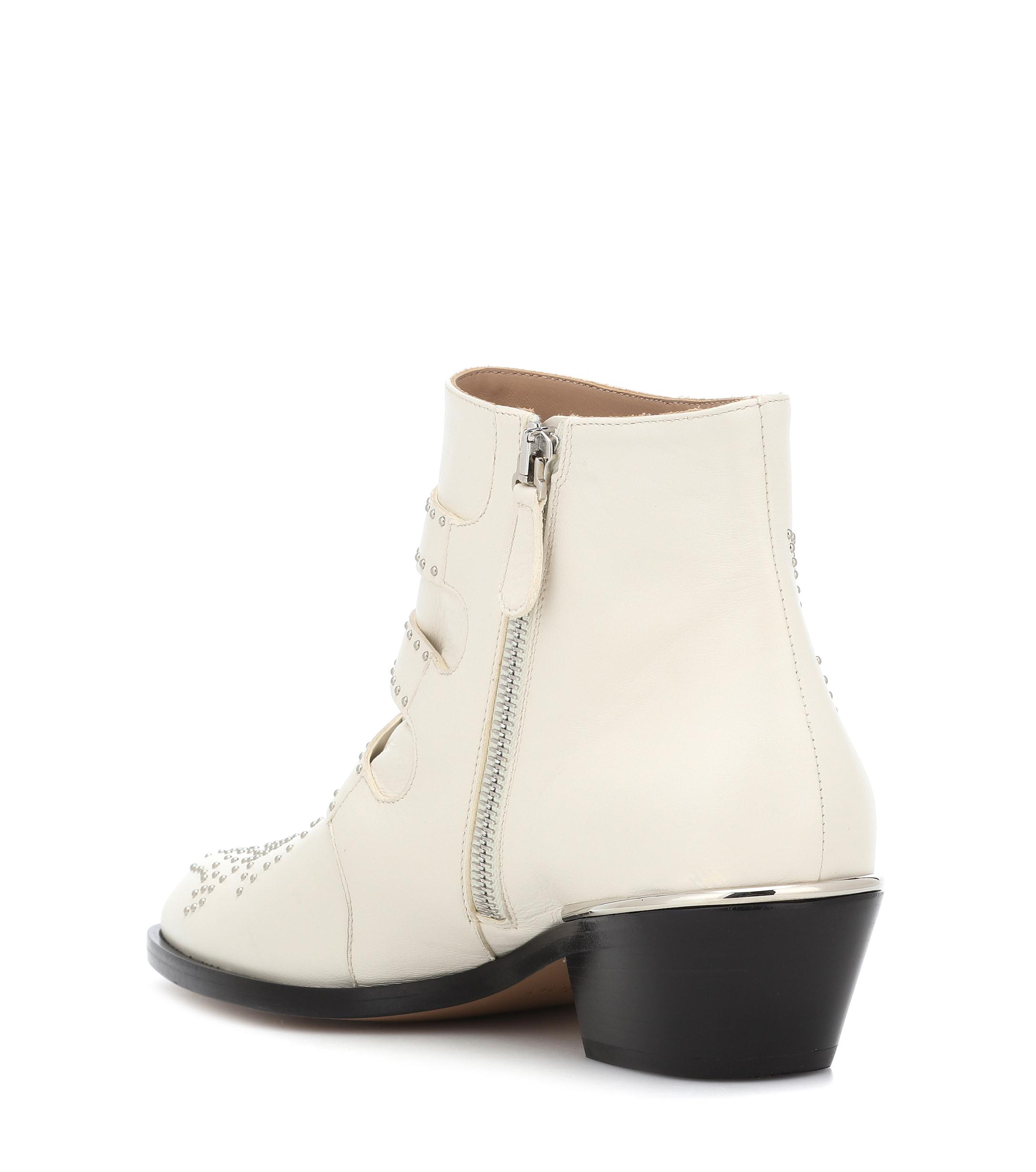 fc094ff0654c Chloé - White Susanna Studded Leather Ankle Boots - Lyst. View fullscreen