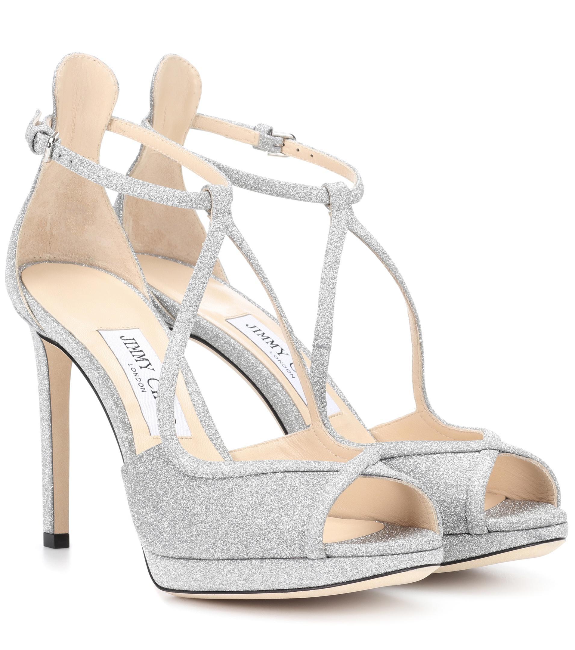 389c975e2ae Lyst - Jimmy Choo Fawne 100 Glitter Sandals in Metallic