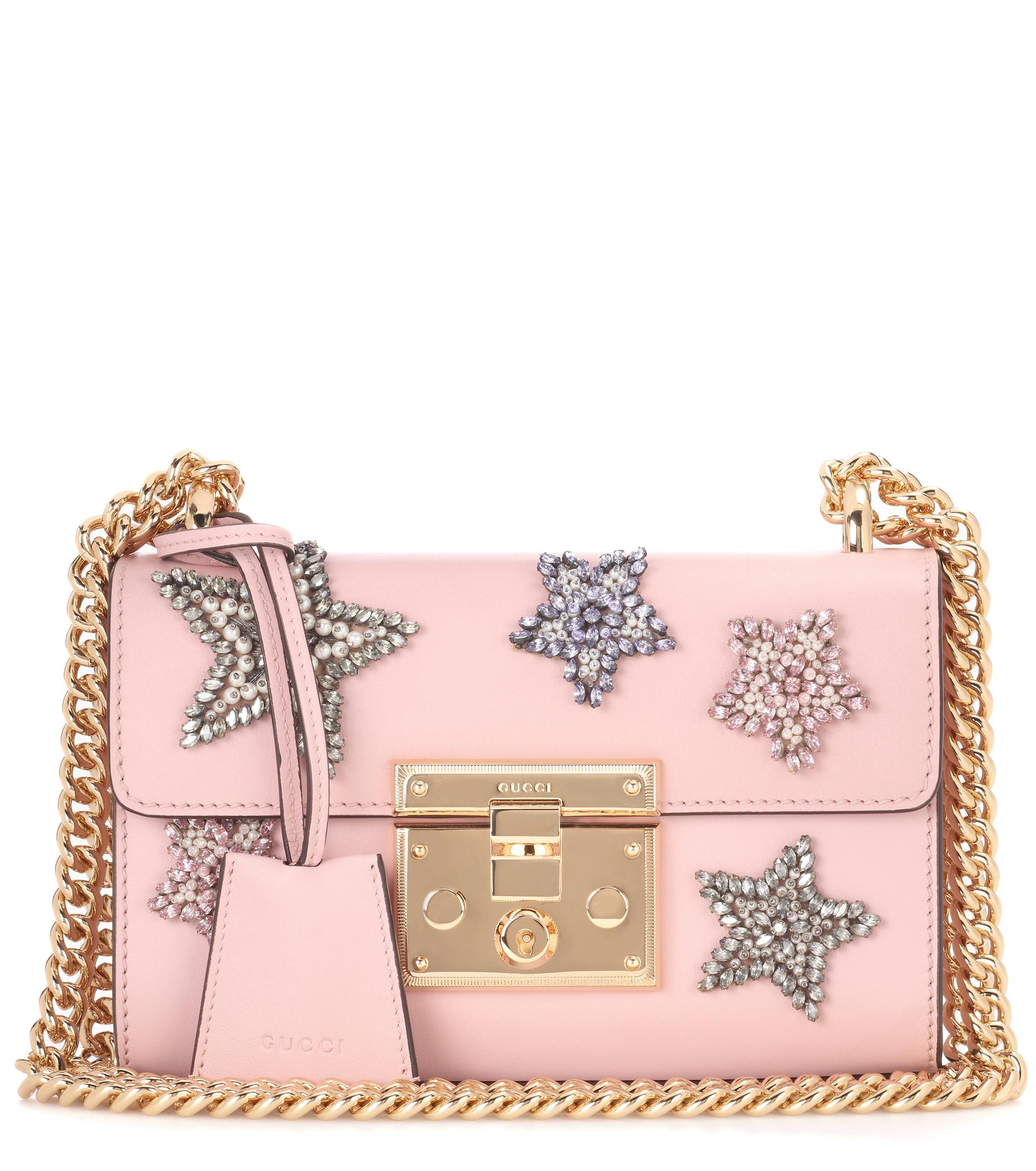 f3e8df085d6 Lyst - Gucci Padlock Embellished Leather Shoulder Bag in Pink