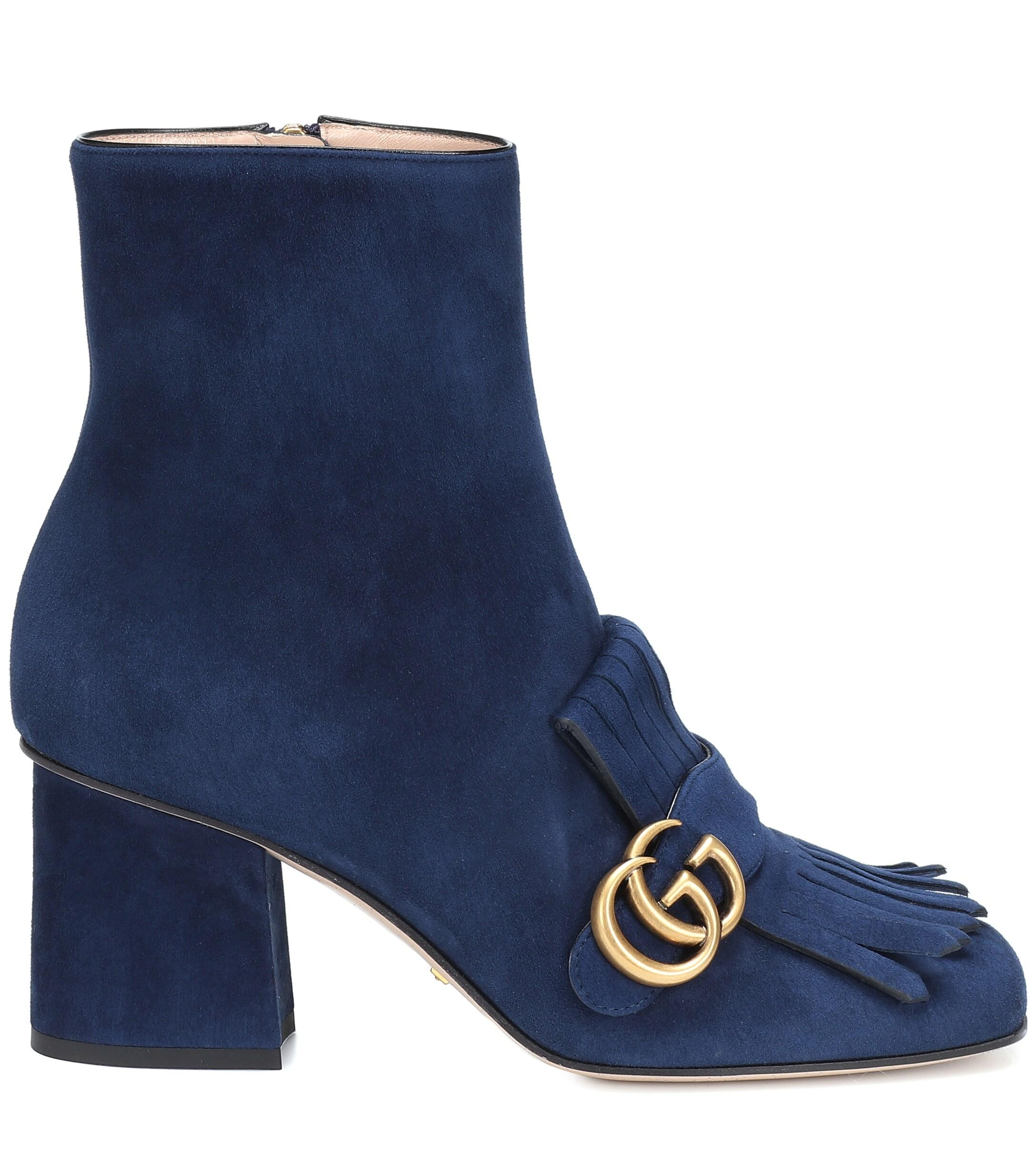Gucci Marmot Suede Ankle Boots in Blue
