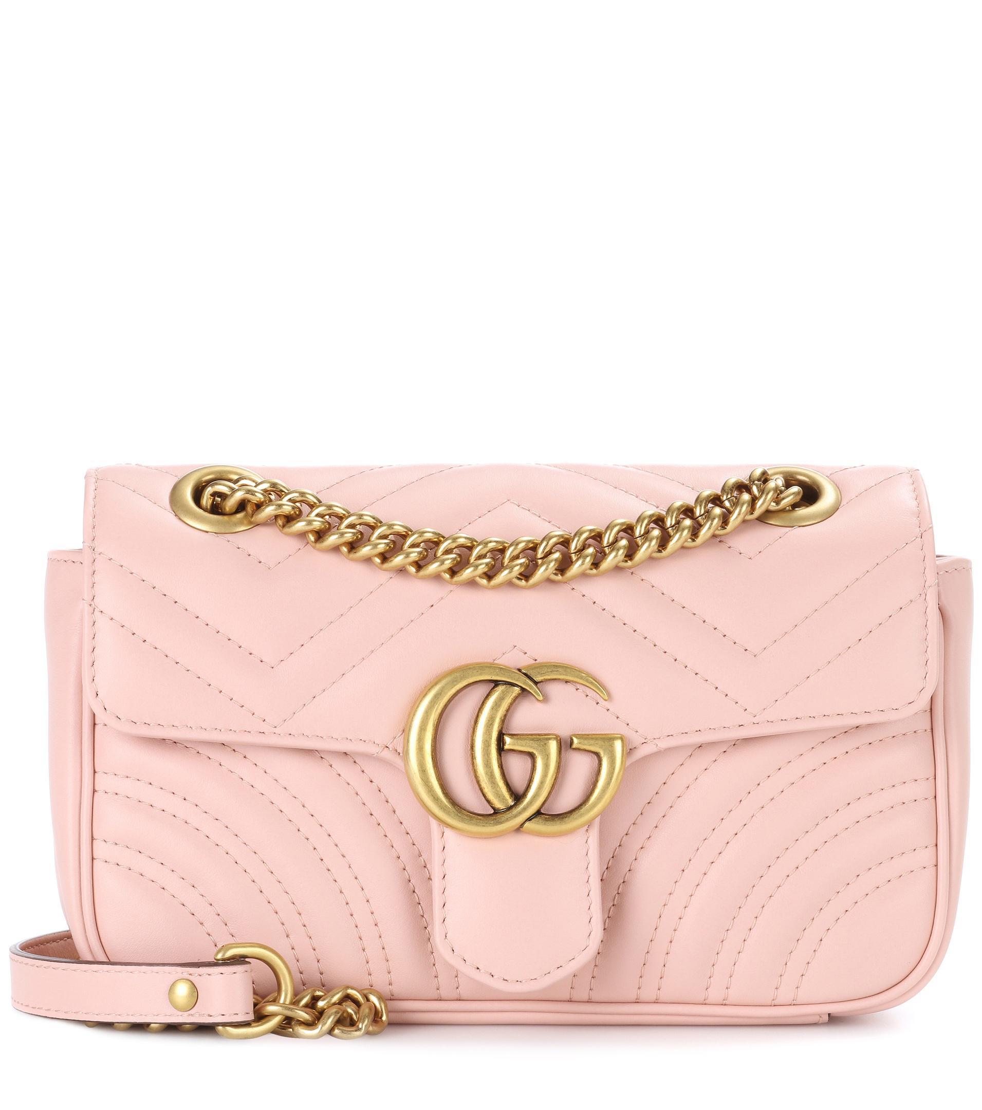 nouveau produit cf4e1 5ed65 Sac en cuir matelassé GG Marmont Mini femme de coloris rose