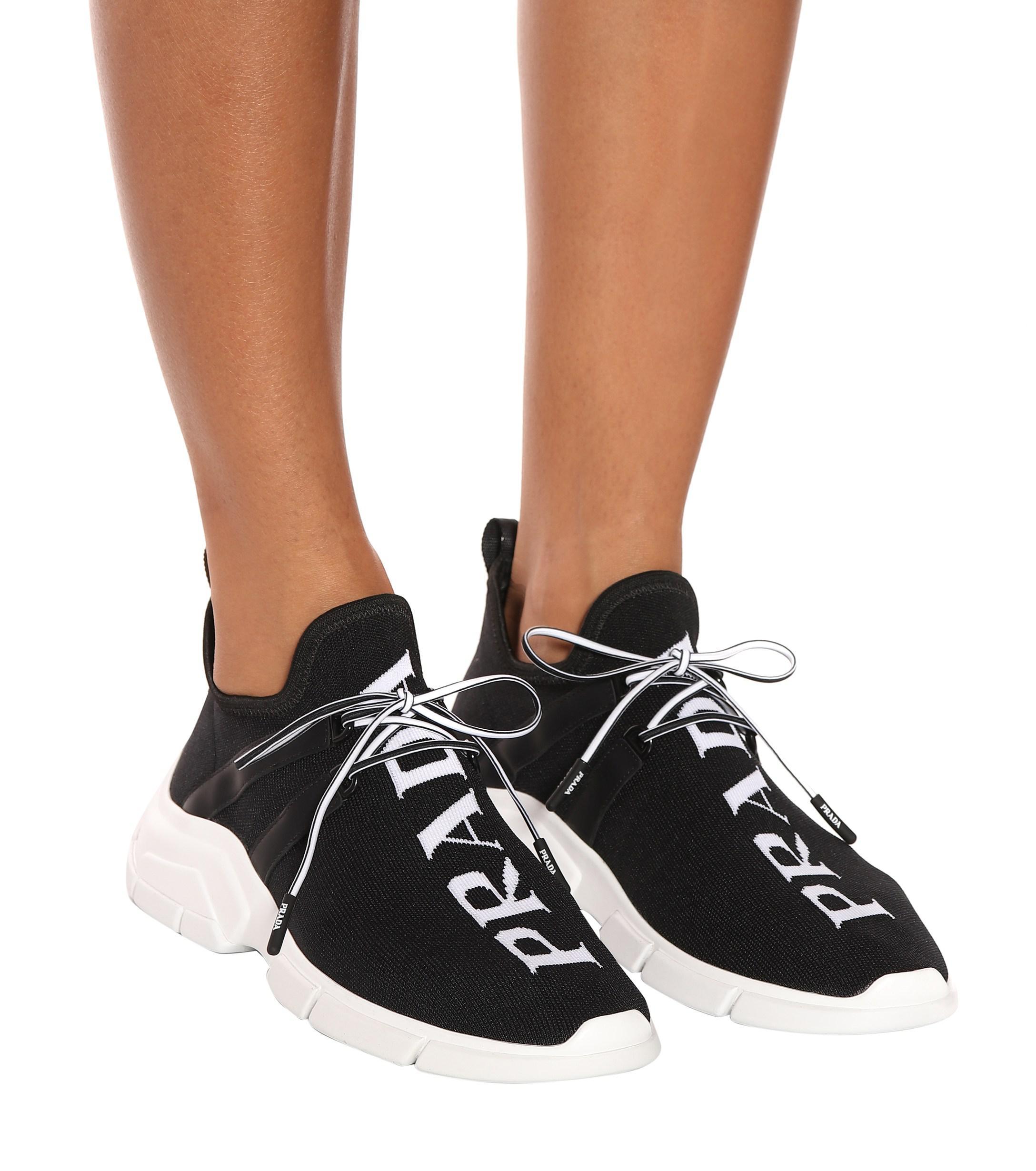 7e2af43620 Women's Black Stretch-knit Sneakers