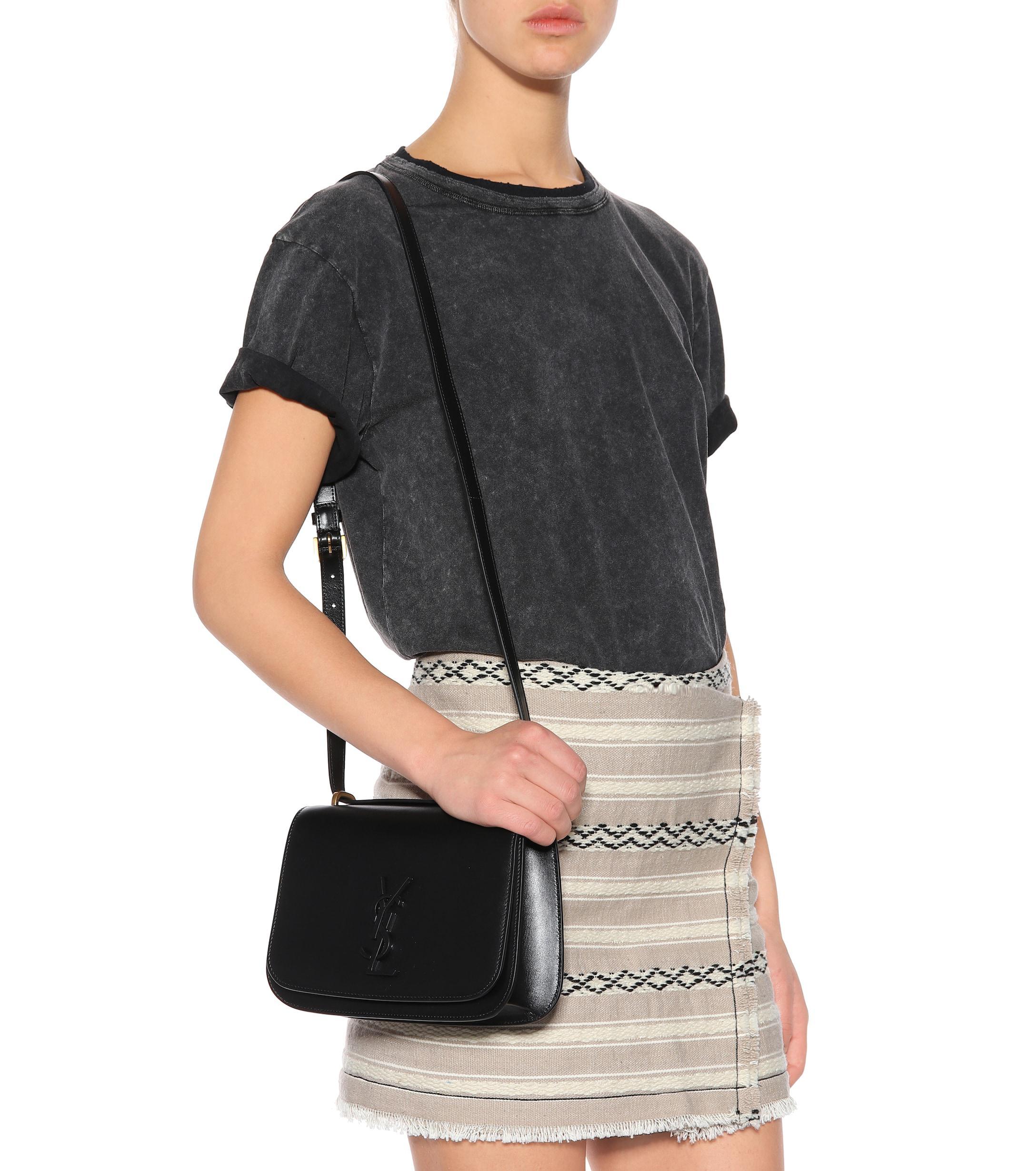 fda45381735 Saint Laurent Small Spontini Leather Shoulder Bag in Black - Lyst