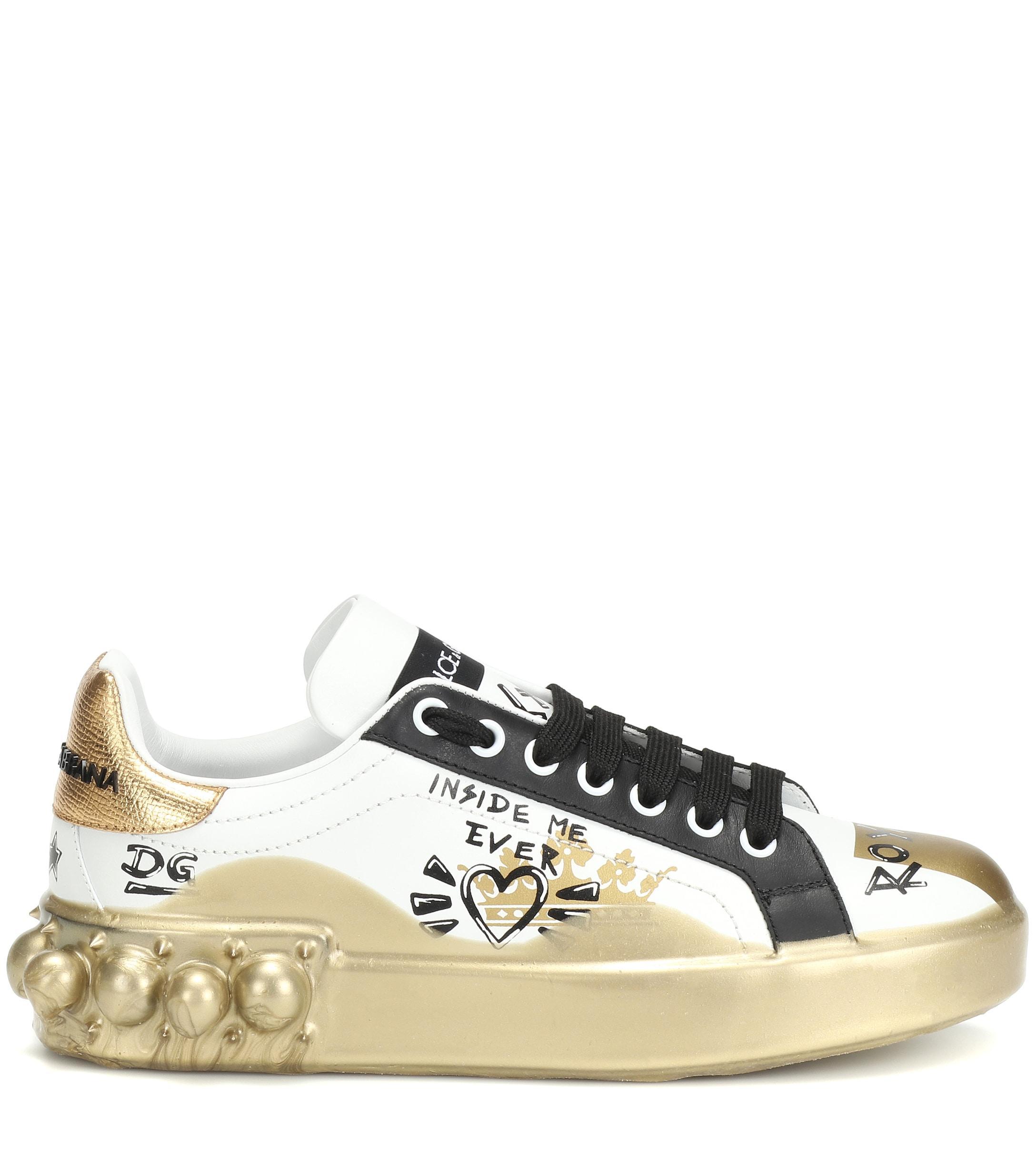 Baskets à ornements en cuir en Cuir Dolce & Gabbana c5JA