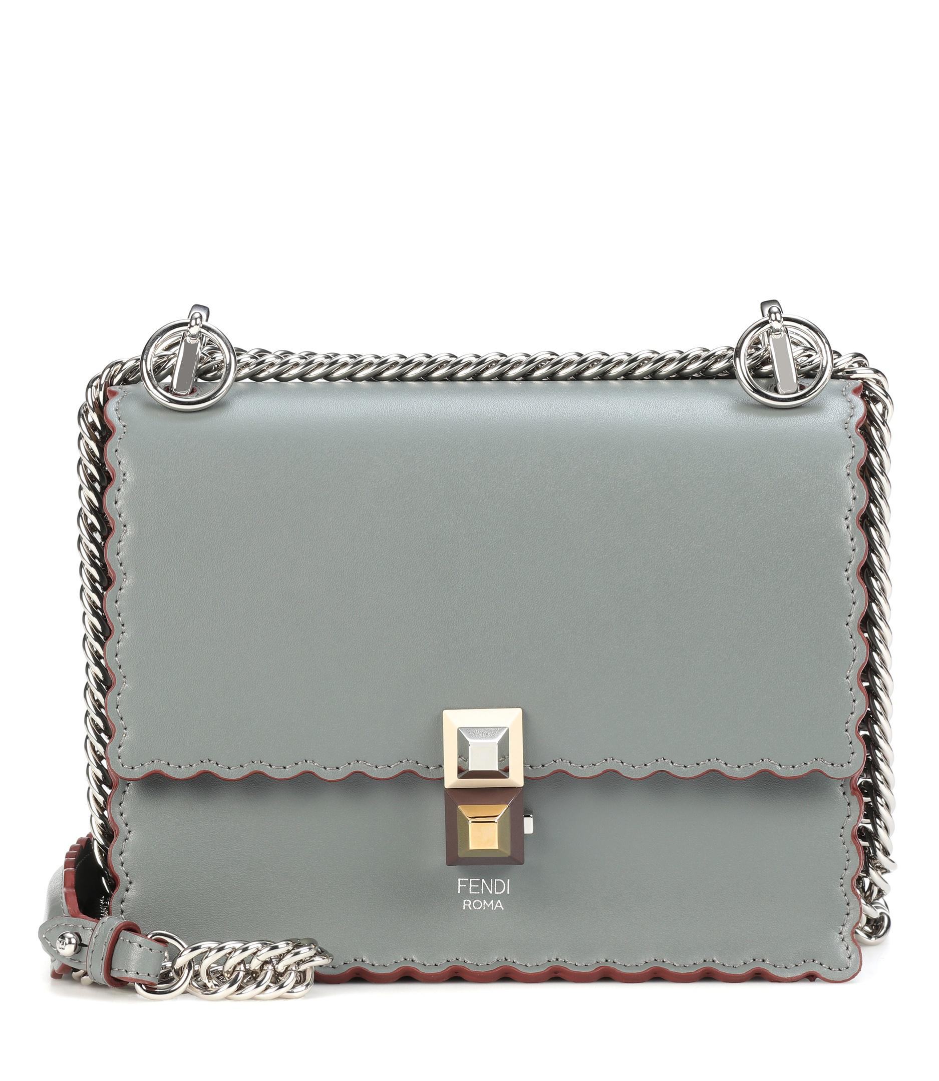 f3a4ce41c8fd Fendi Kan I Small Leather Shoulder Bag in Green - Lyst