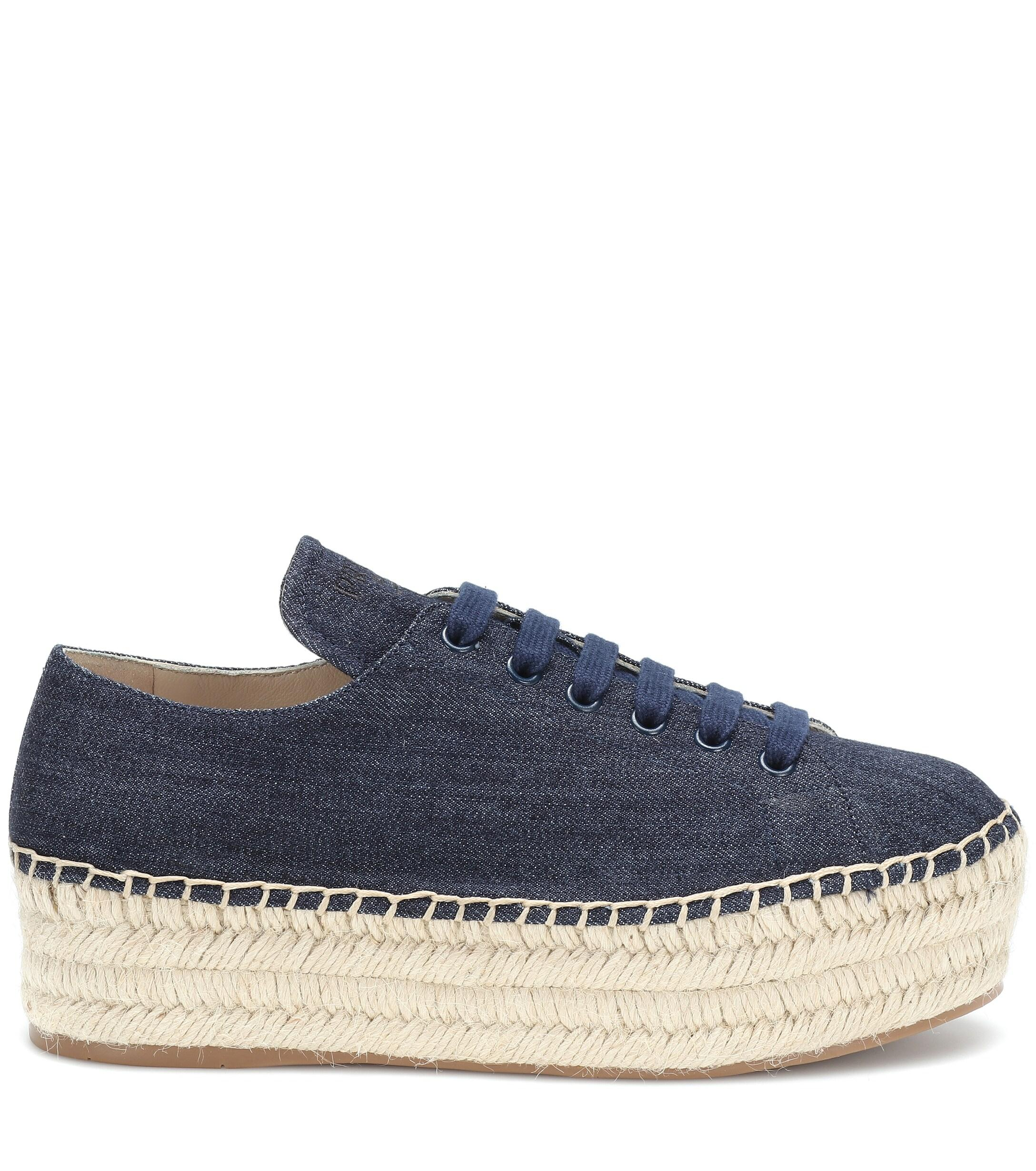 Zapatillas tipo alpargatas de jeans Prada de Denim de color Azul: ahorra un 25 %