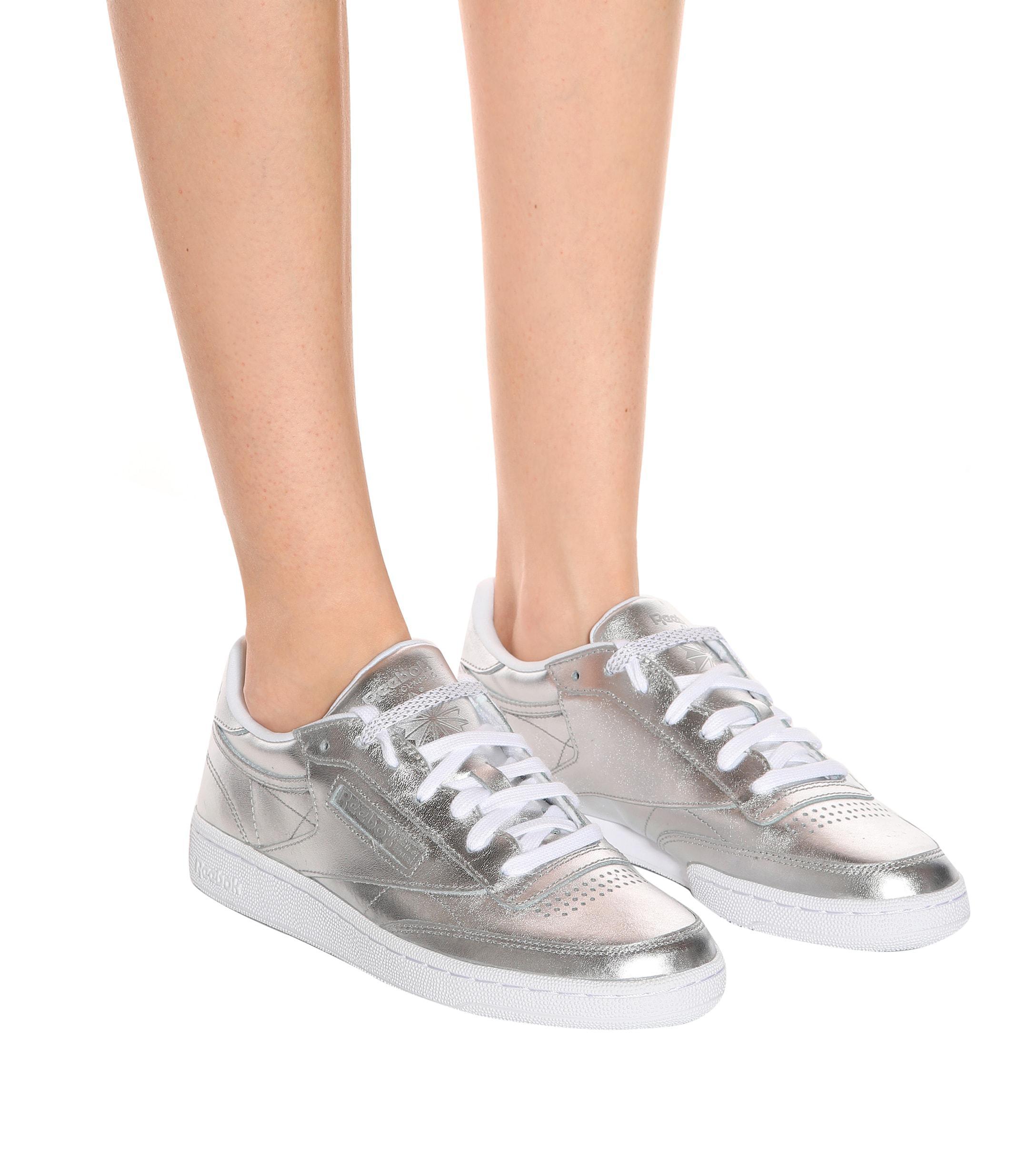 Reebok Club C Leather Sneakers in Silver (Metallic)
