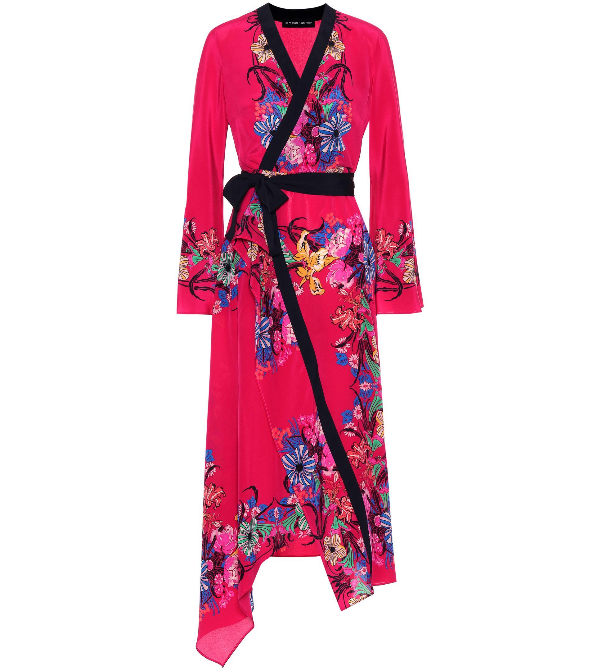 brand new e4da0 e728b Etro Floral Silk Kimono Dress in Pink - Lyst