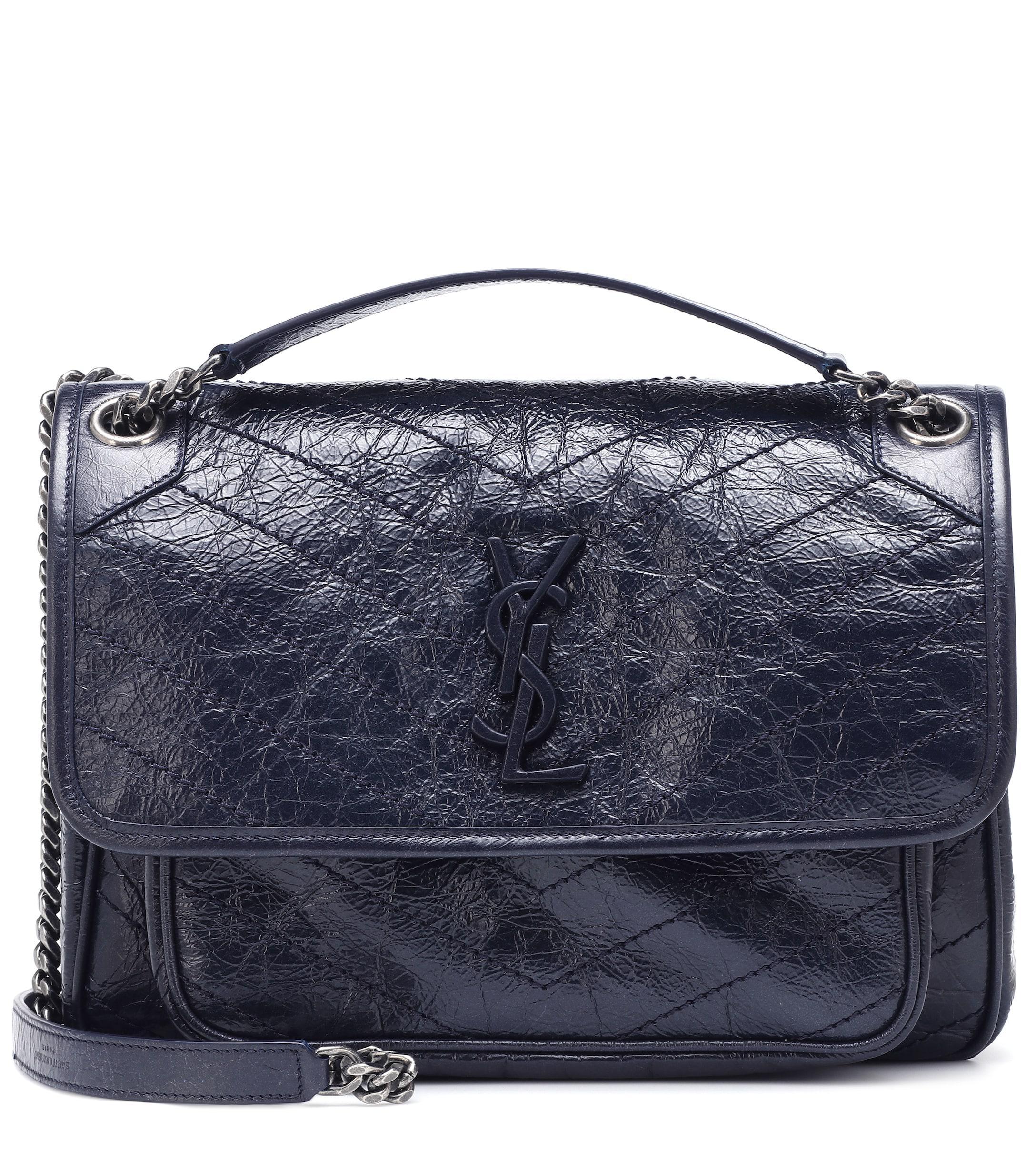 Lyst - Saint Laurent Medium Niki Leather Shoulder Bag in Blue e144fea44127b