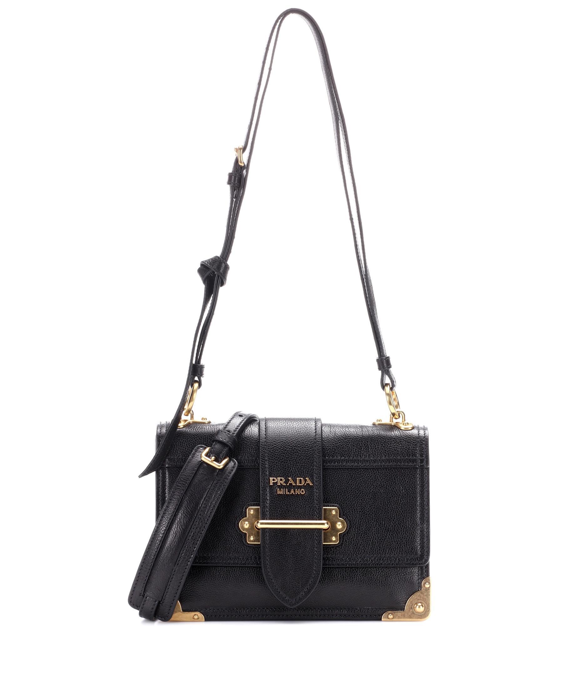 651265e27869 Prada Cahier Leather Shoulder Bag in Black - Lyst