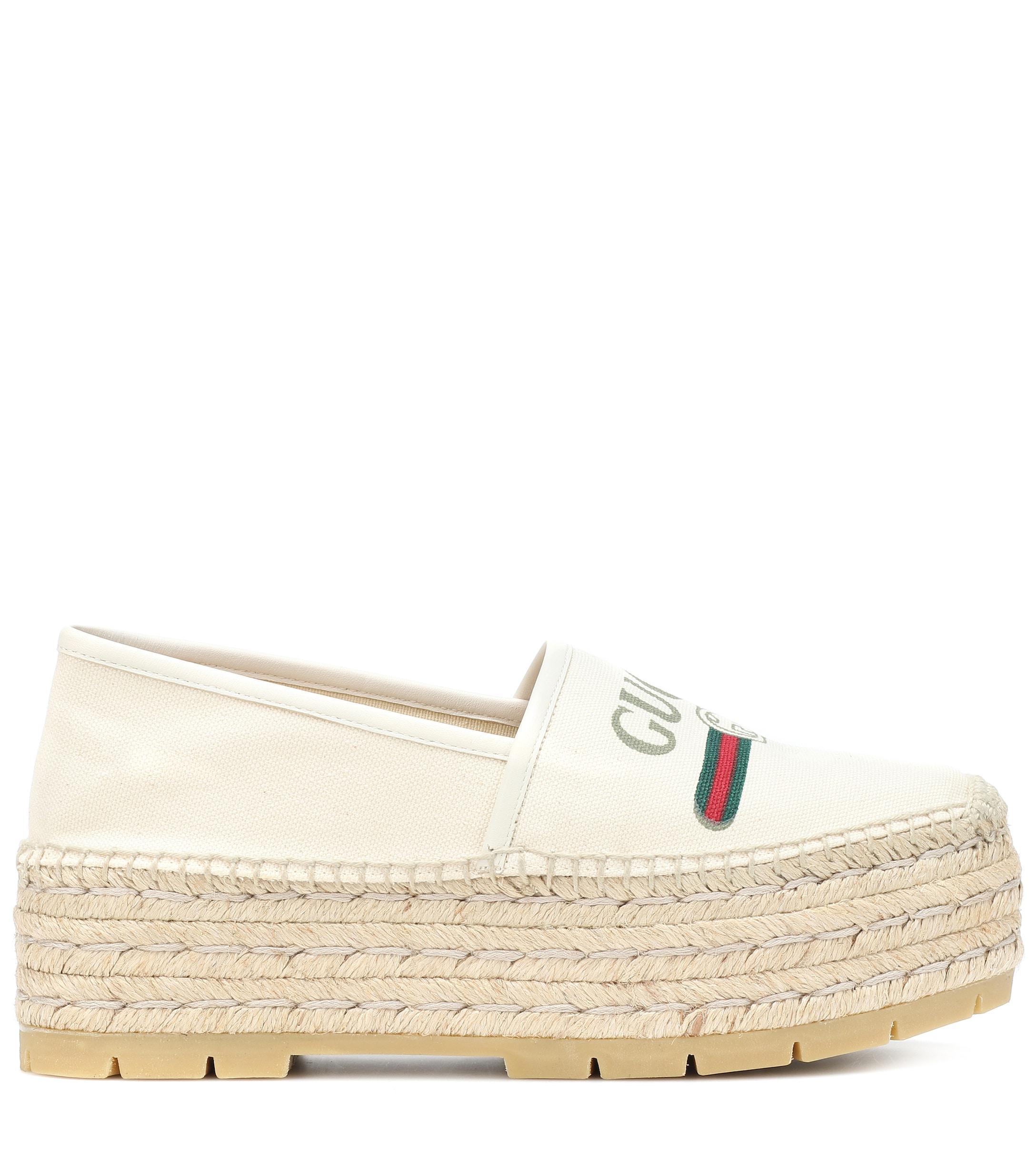 e8334ca4a Gucci Logo Platform Canvas Espadrilles in White - Lyst