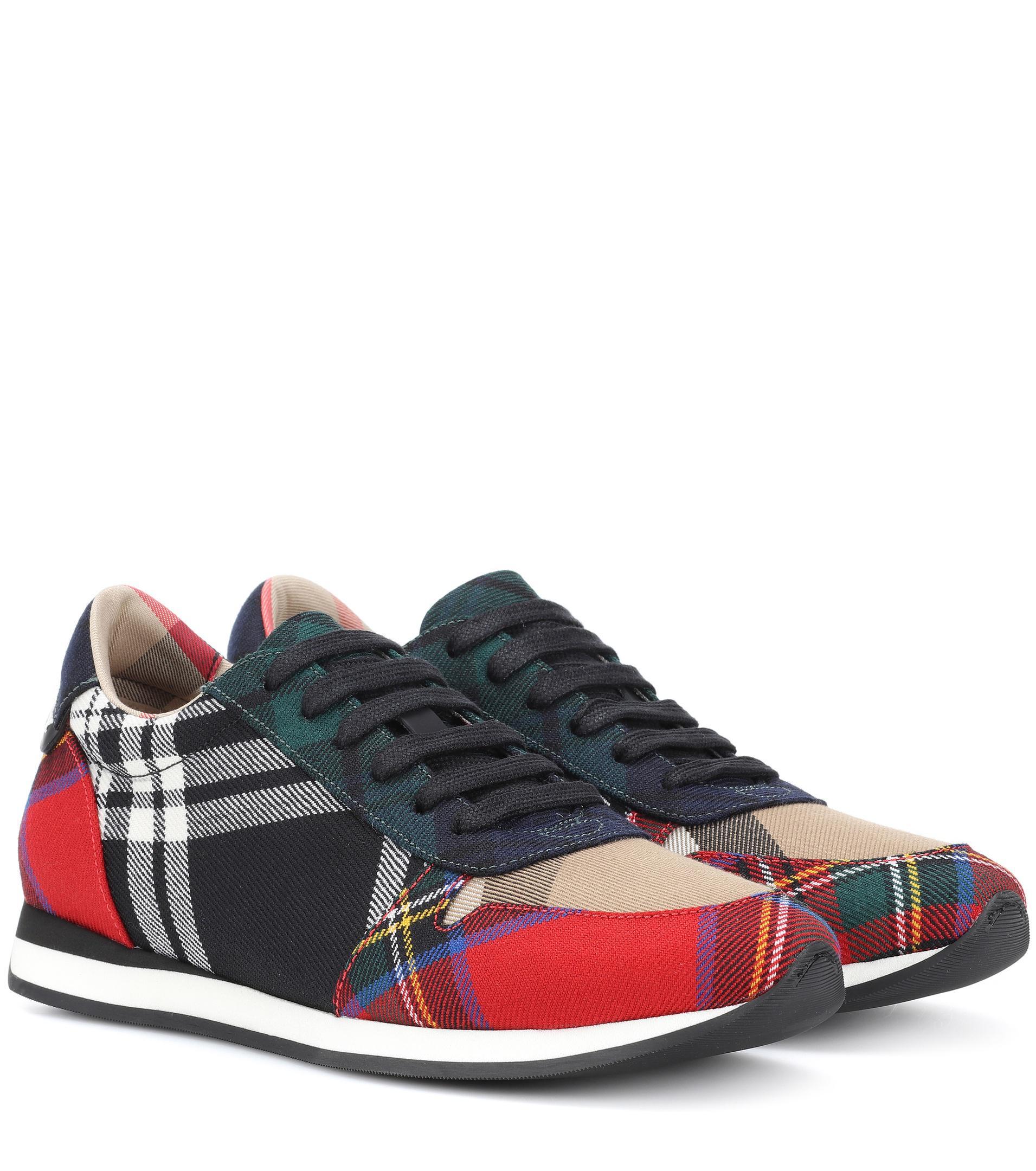 Burberry Amelia Tartan Wool Sneakers - Lyst