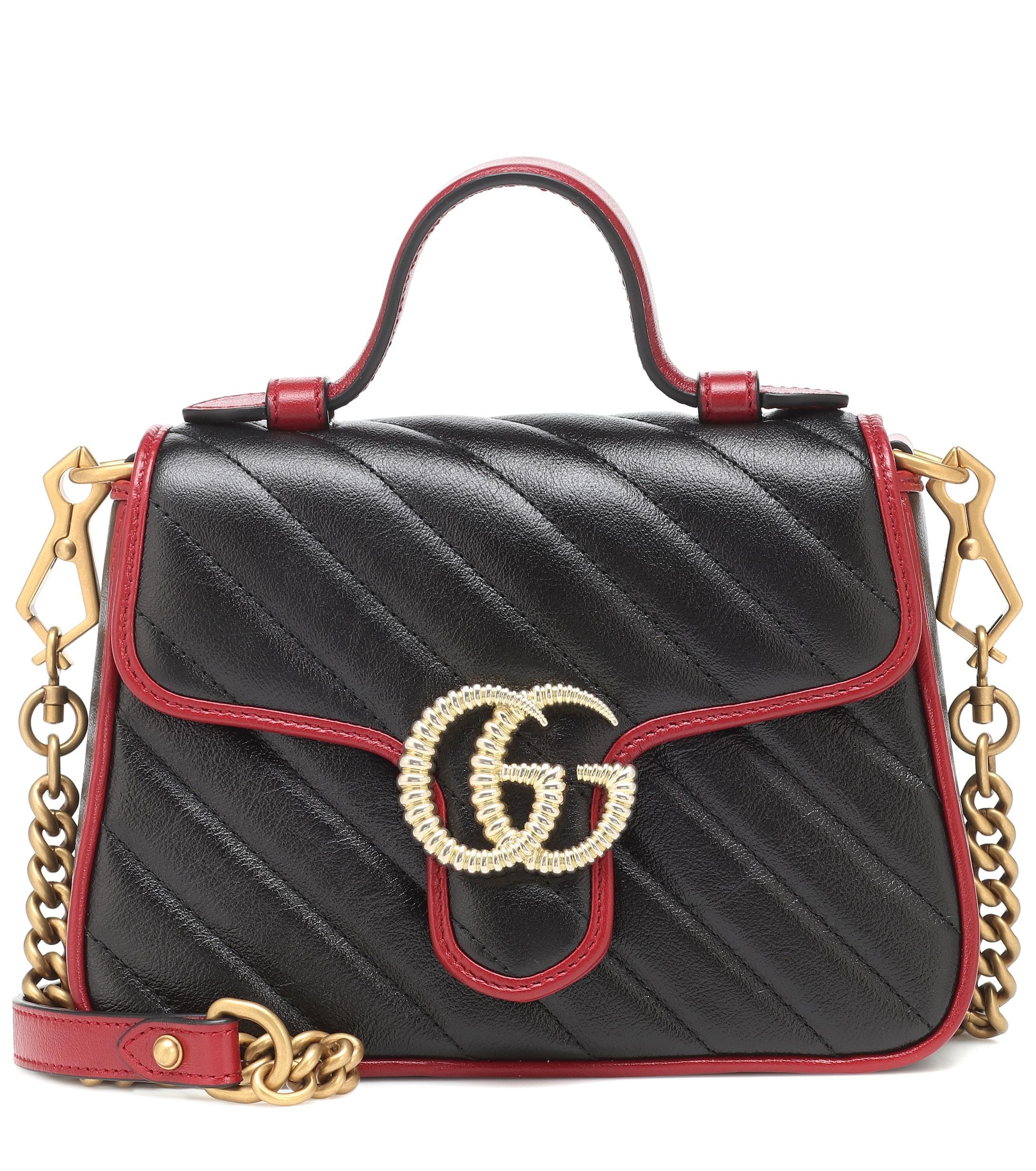 Gucci Marmont New Gg Matelasse Mini Black Calf Leather