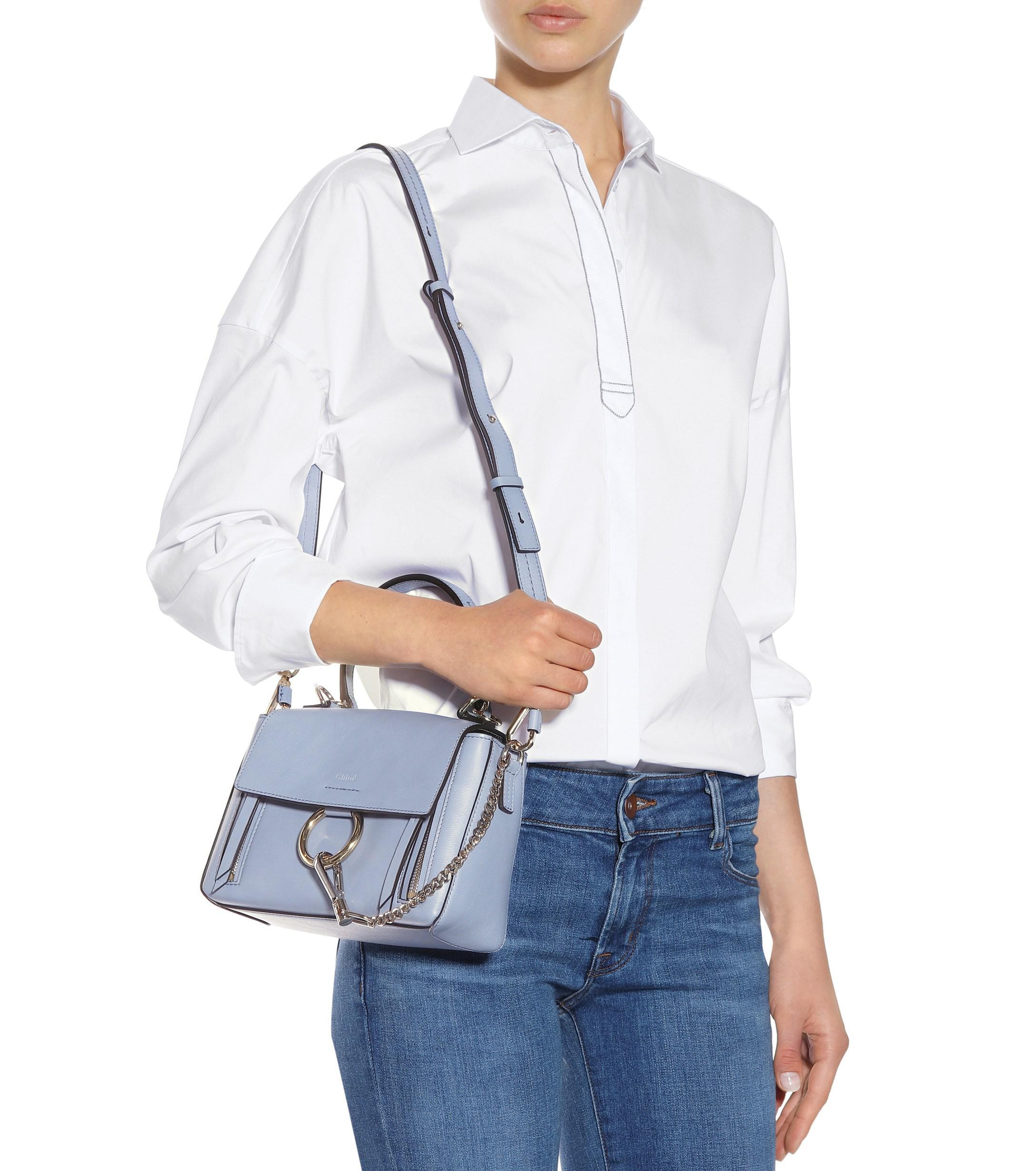 731f778b9f Chloé Mini Faye Day Leather Shoulder Bag in Blue - Lyst
