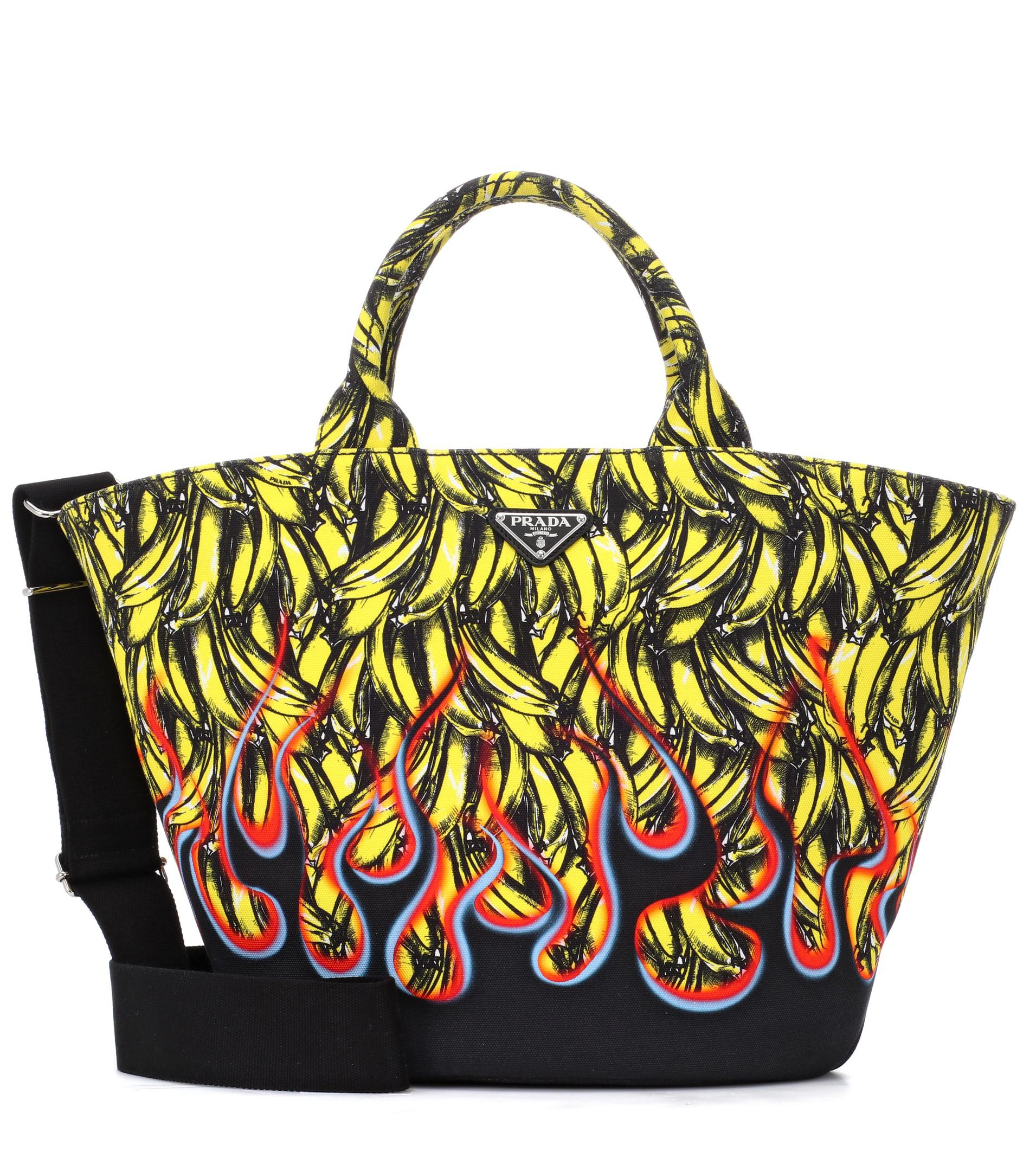 f272ad4b7beb Prada Exclusive To Mytheresa – Printed Canvas Tote in Yellow - Lyst