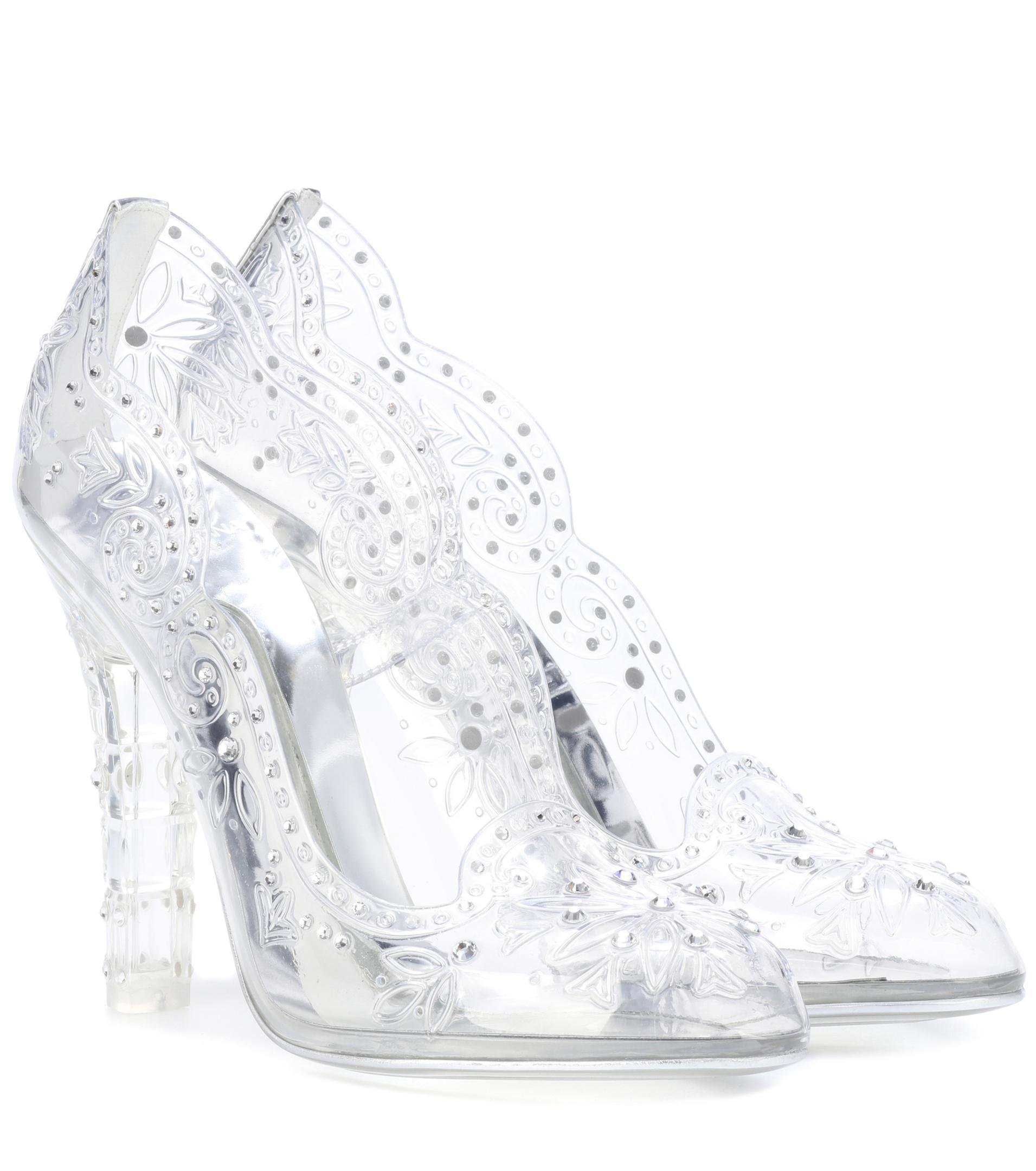 5dc9ea9cdaec Lyst - Dolce   Gabbana Cinderella Embellished Transparent Pumps in White
