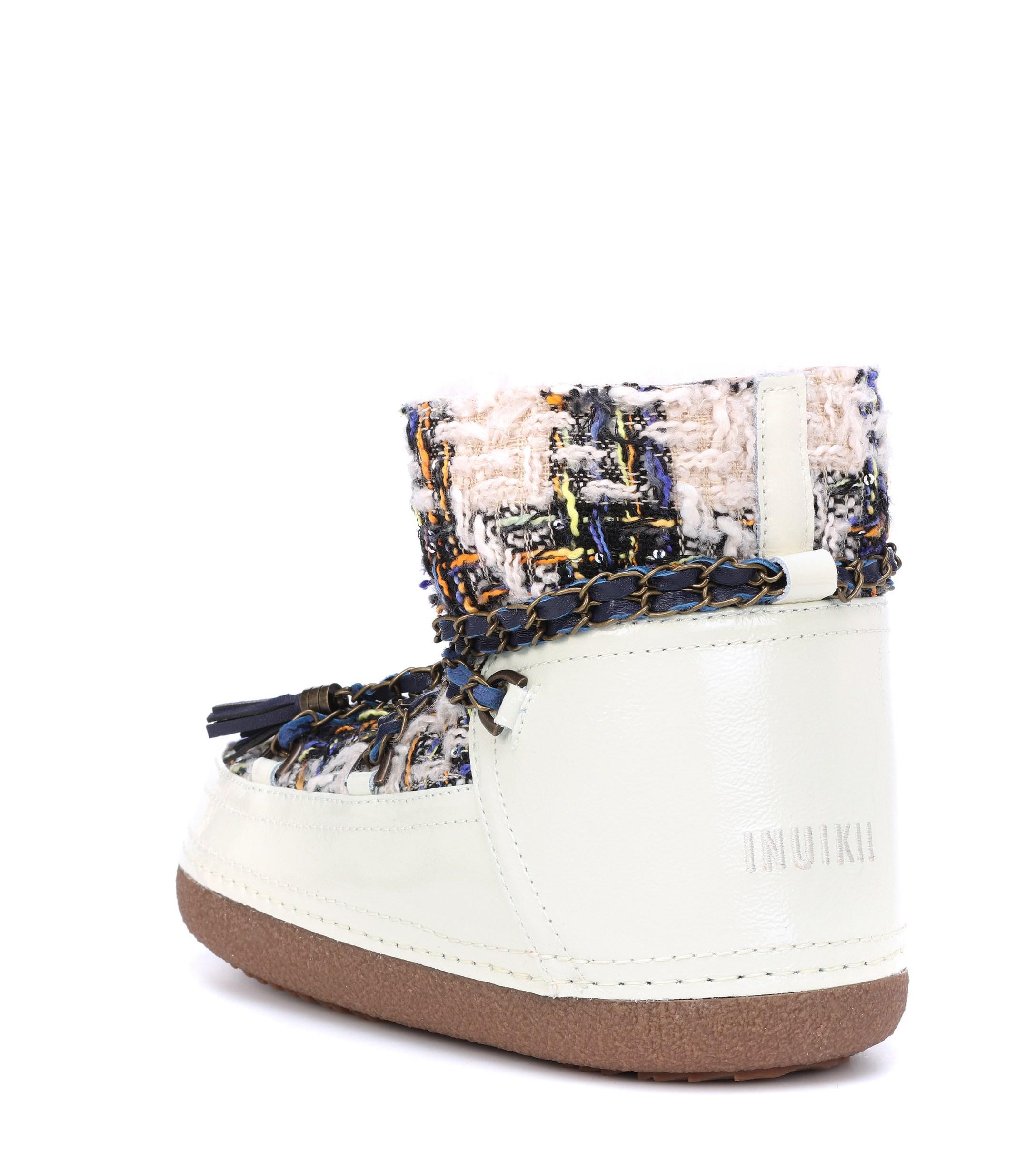 Botines en tweed con borrego Inuikii de Cuero de color Blanco