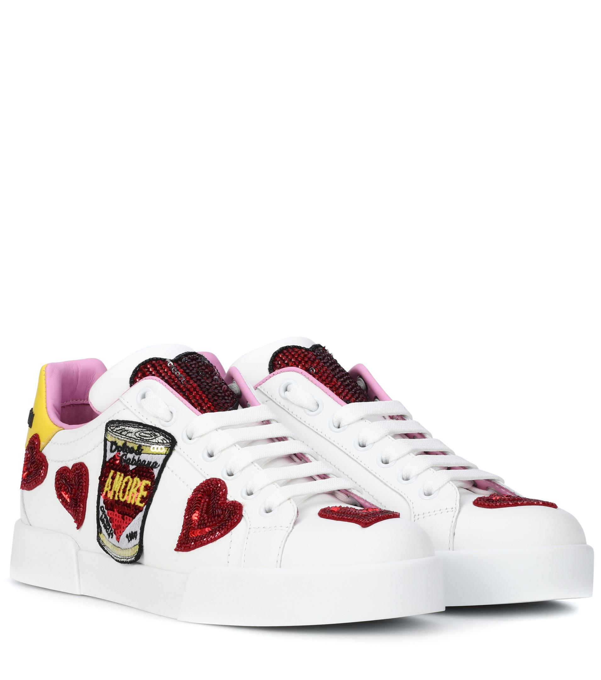 cheap sale amazon Dolce & Gabbana Portofino embellished leather sneakers sale factory outlet FtUu3LCa