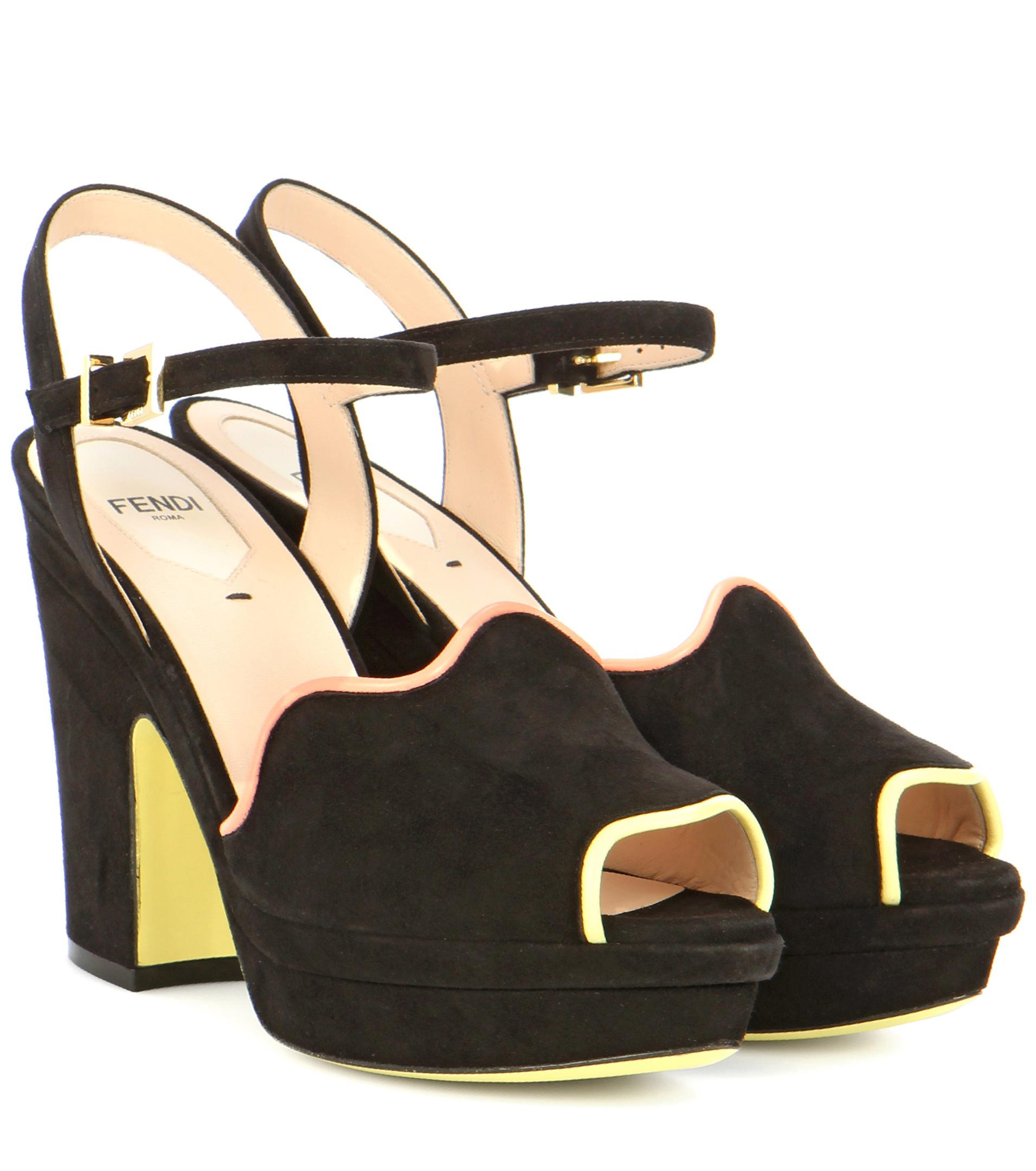 Fendi Black Suede Platform Sandals rePOqT