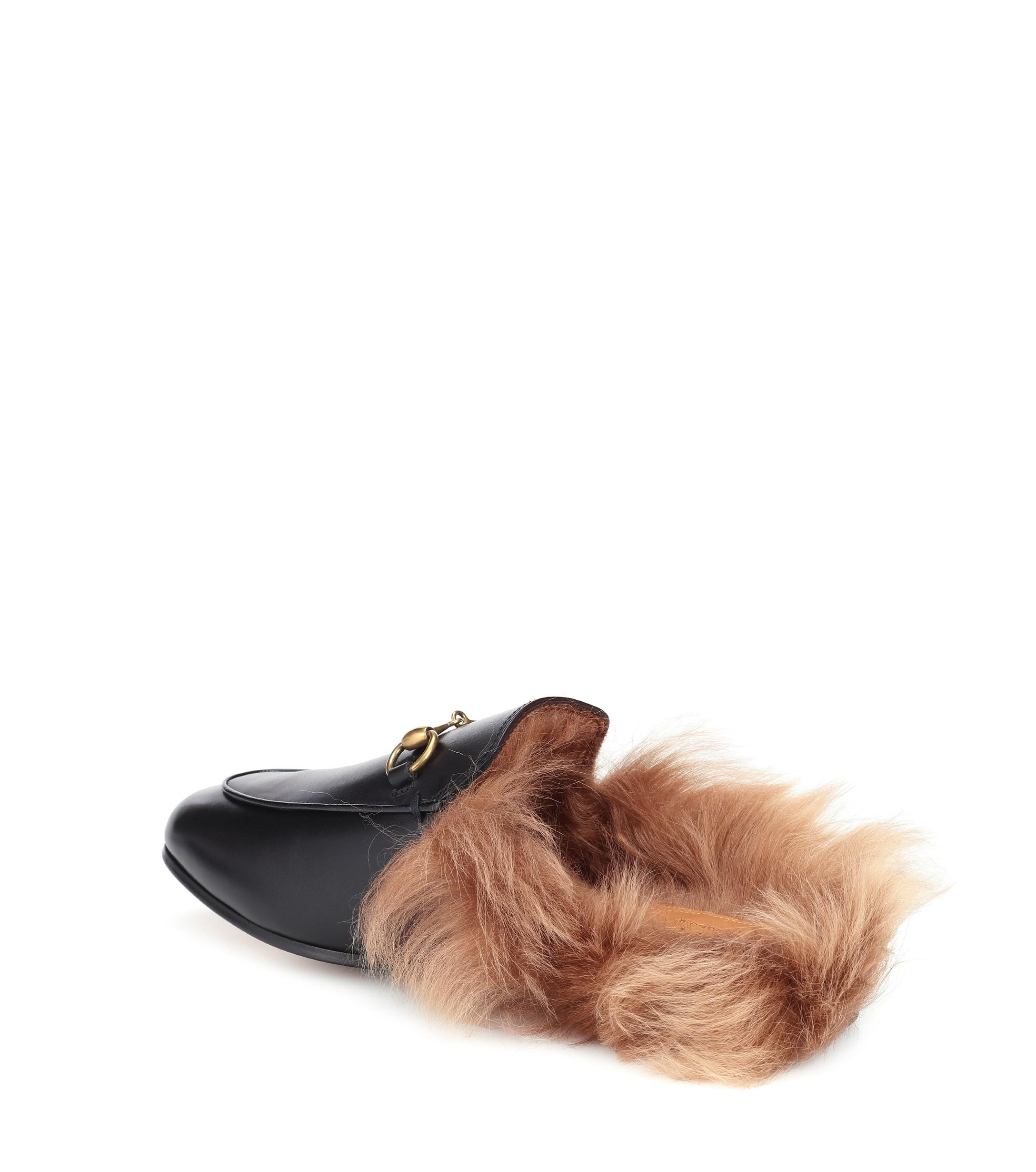 b02e53cf231 Gucci - Black Princetown Fur-lined Leather Slippers - Lyst. View fullscreen