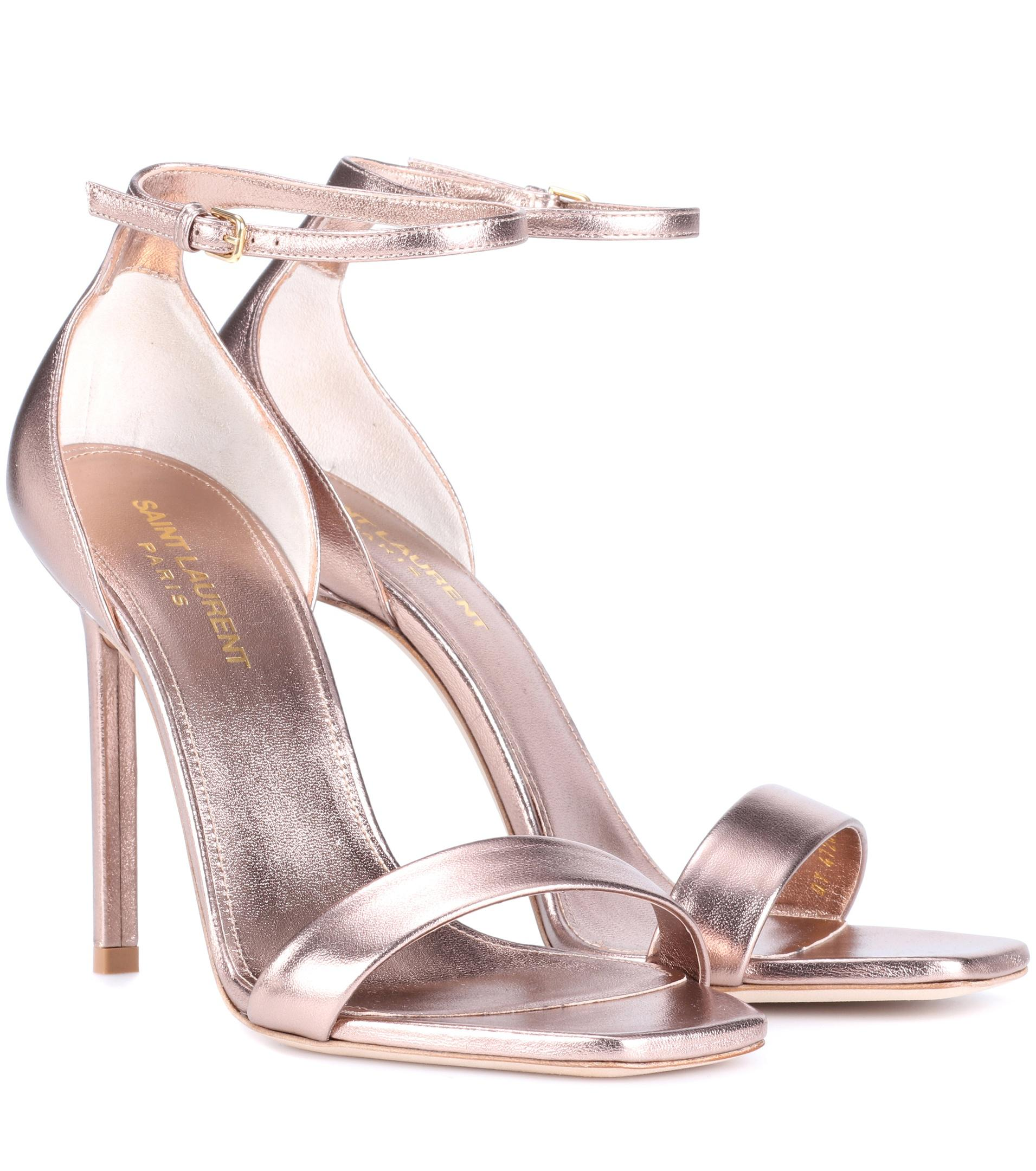 675bf058a32f Saint Laurent Amber 105 Leather Sandals in Pink - Lyst