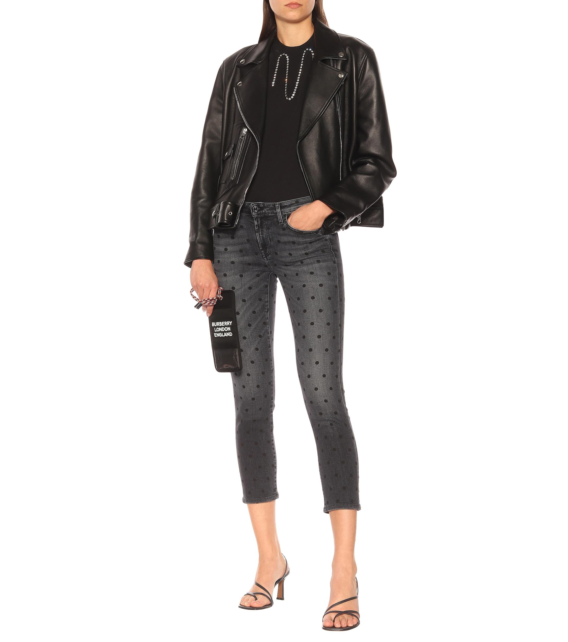 Jean skinny Pyper Crop raccourci à taille mi-haute Jean 7 For All Mankind en coloris Noir