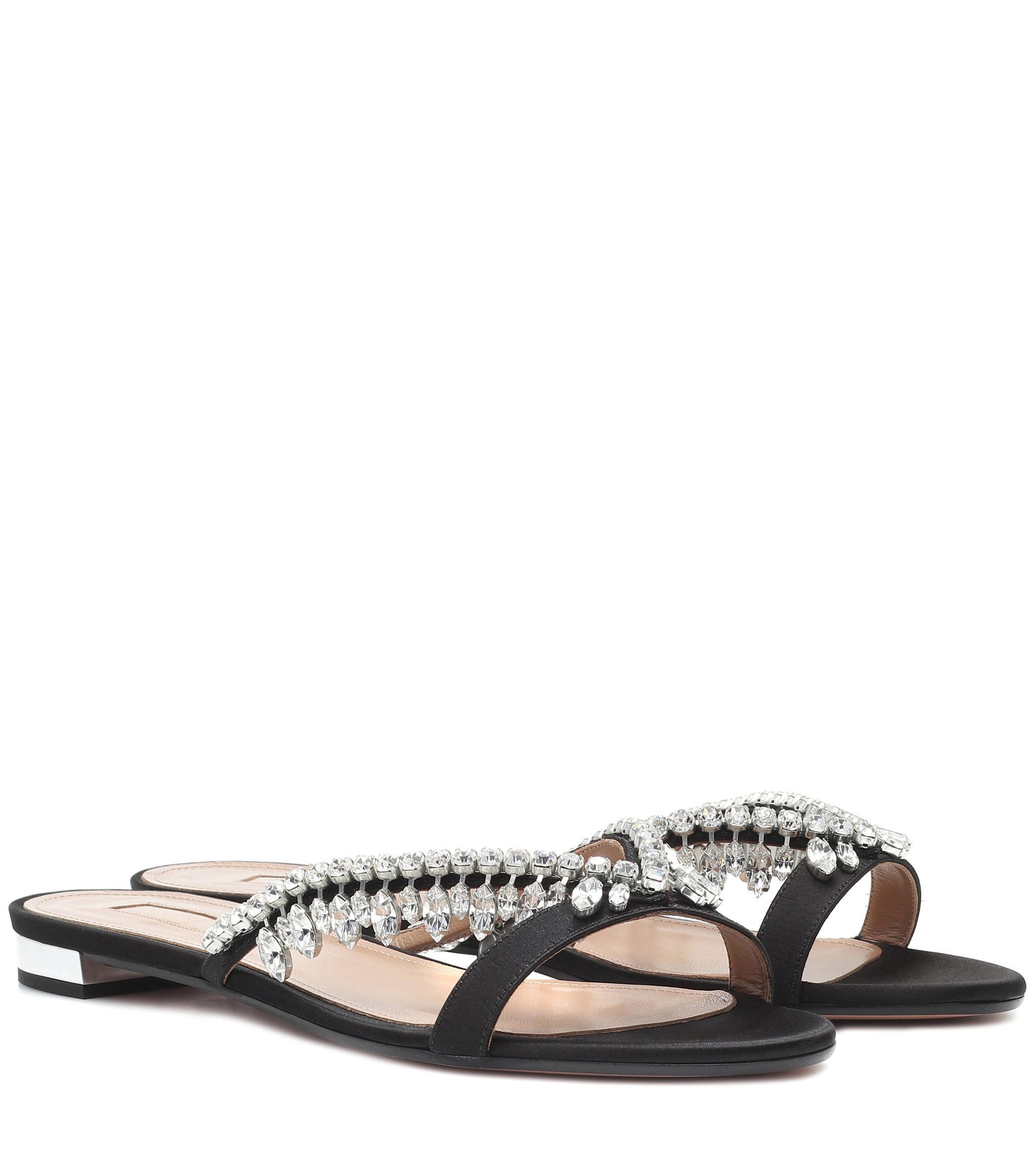 Lyst - Aquazzura Gem Palace Satin Sandals in Black e2fa44f84710