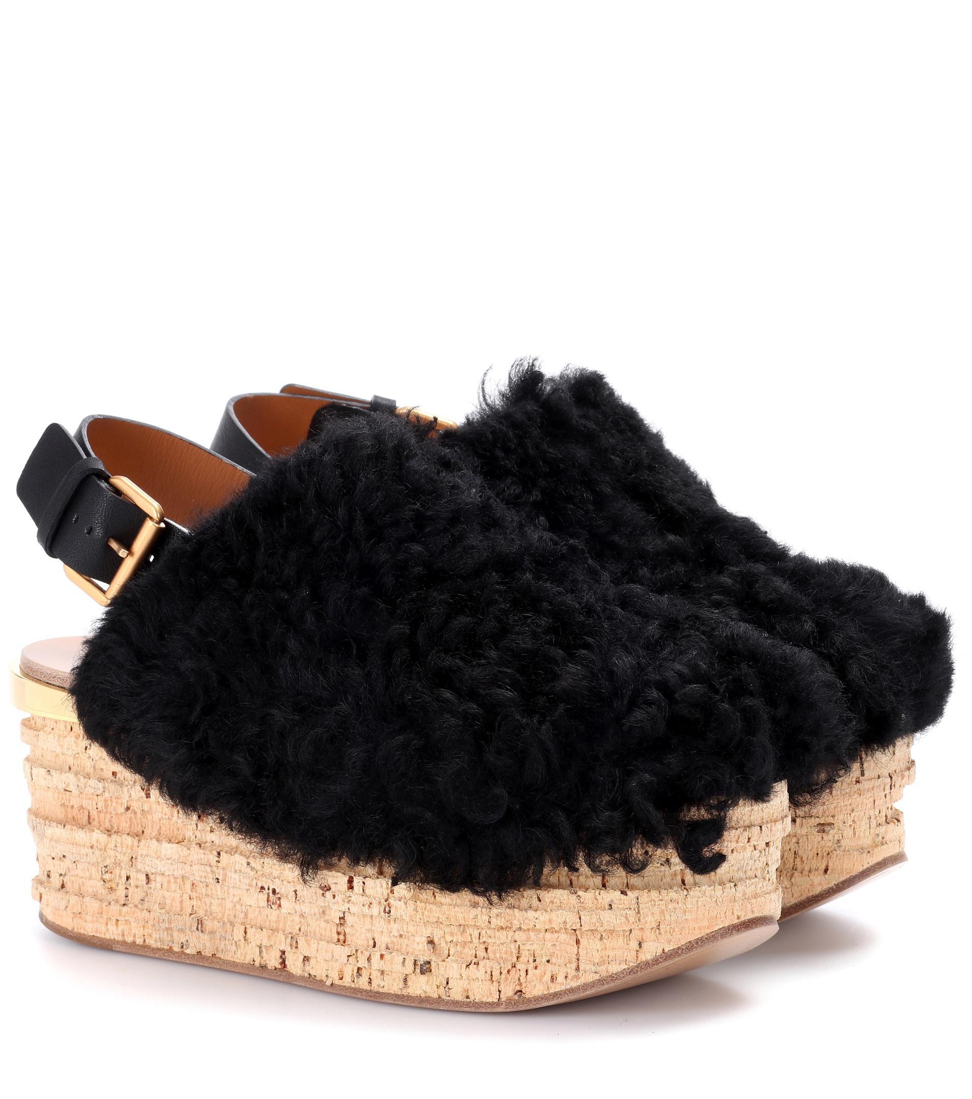 Ann Demeulemeester Beige Shearling Camille Flatform Sandals LVV6LEpl