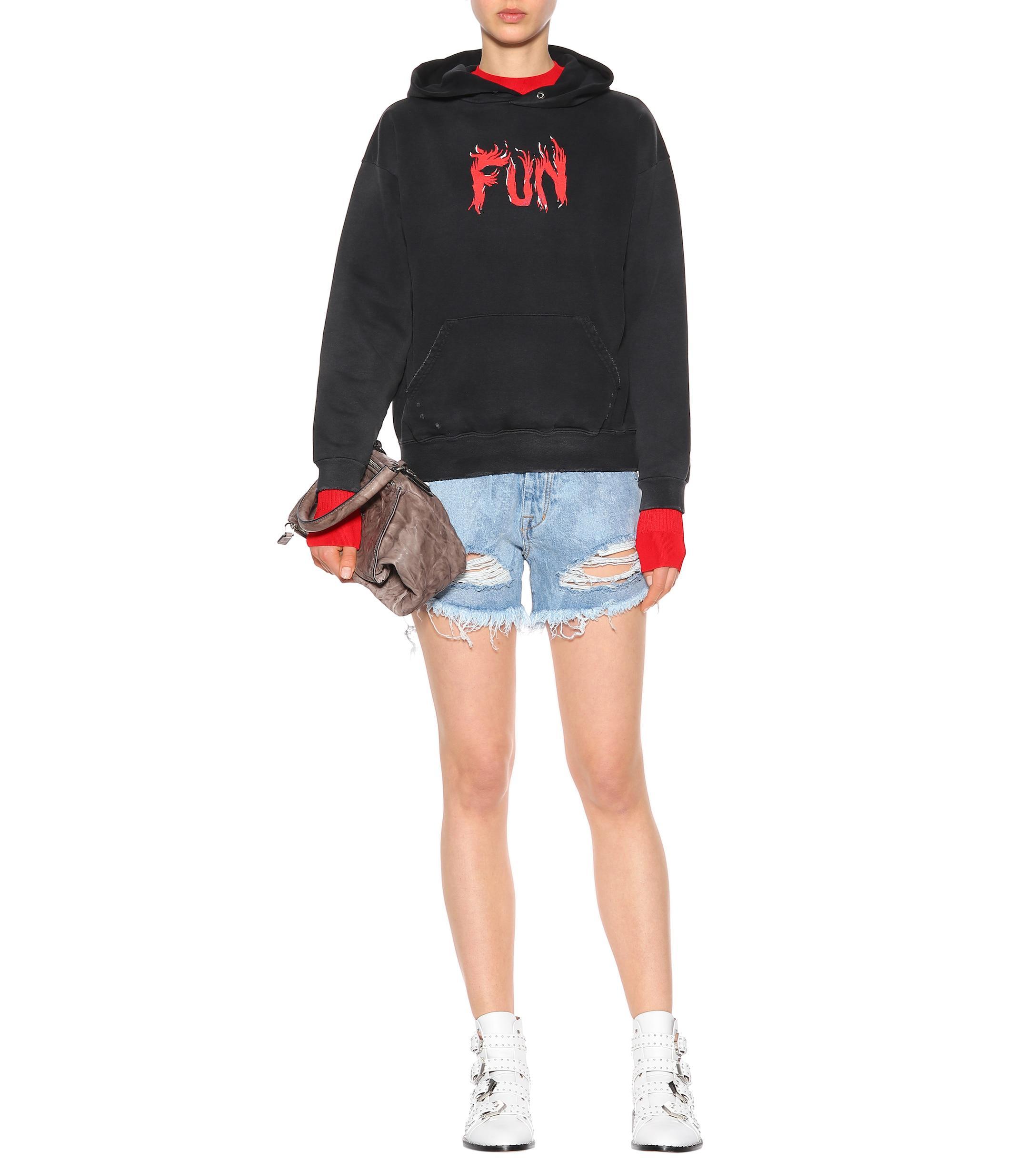 1e924607def Givenchy - Black Sweat-shirt à capuche en coton imprimé - Lyst. Afficher en  plein écran