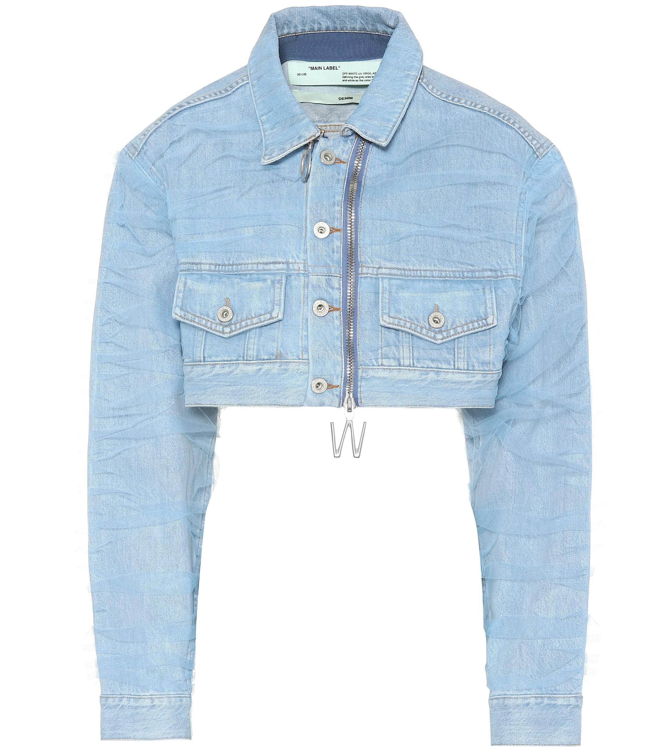 ea96a416afea Lyst - Off-White c o Virgil Abloh Cropped Denim Jacket in Blue