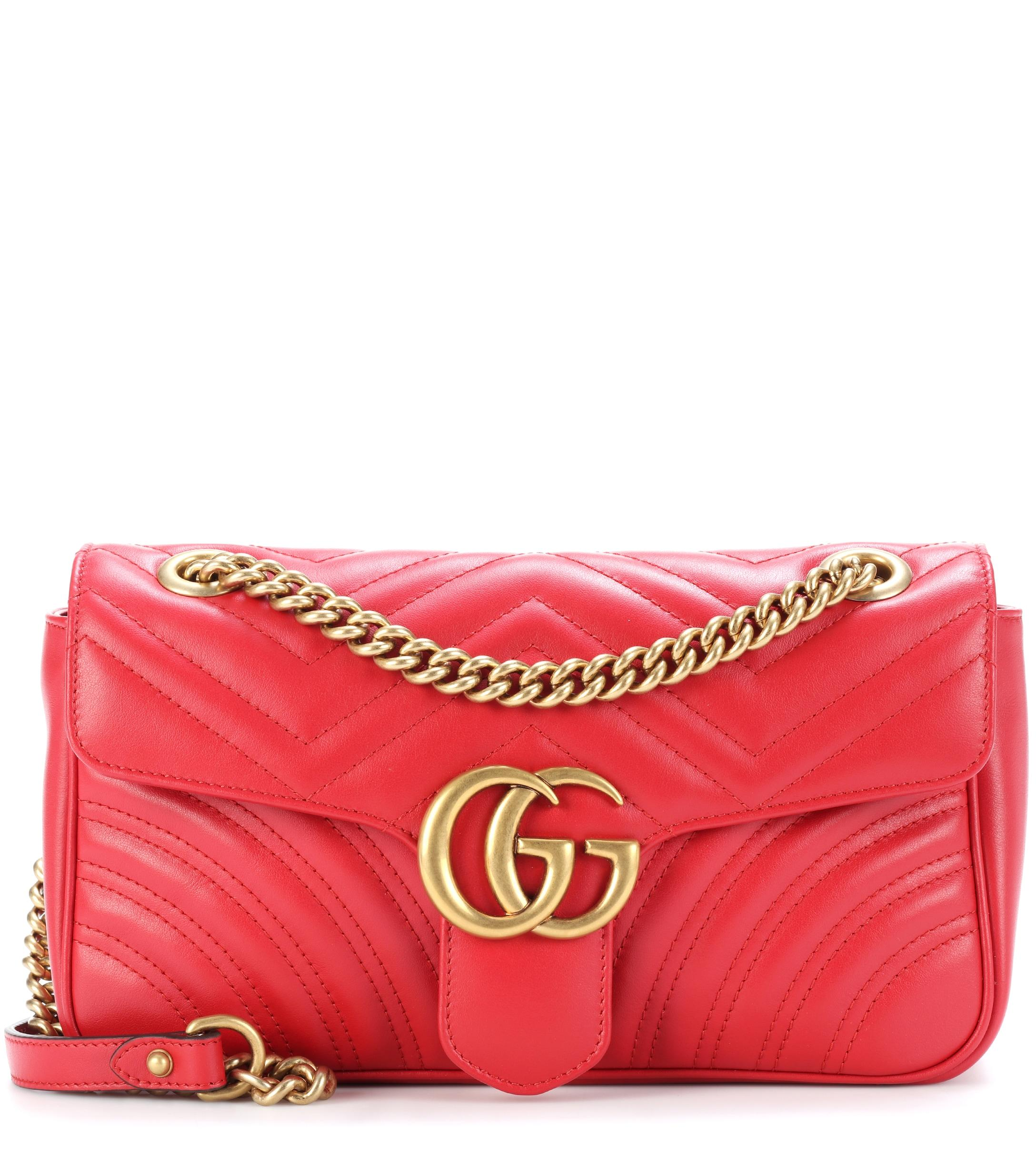 46eb51bd316 Lyst - Gucci GG Marmont Leather Shoulder Bag in Red