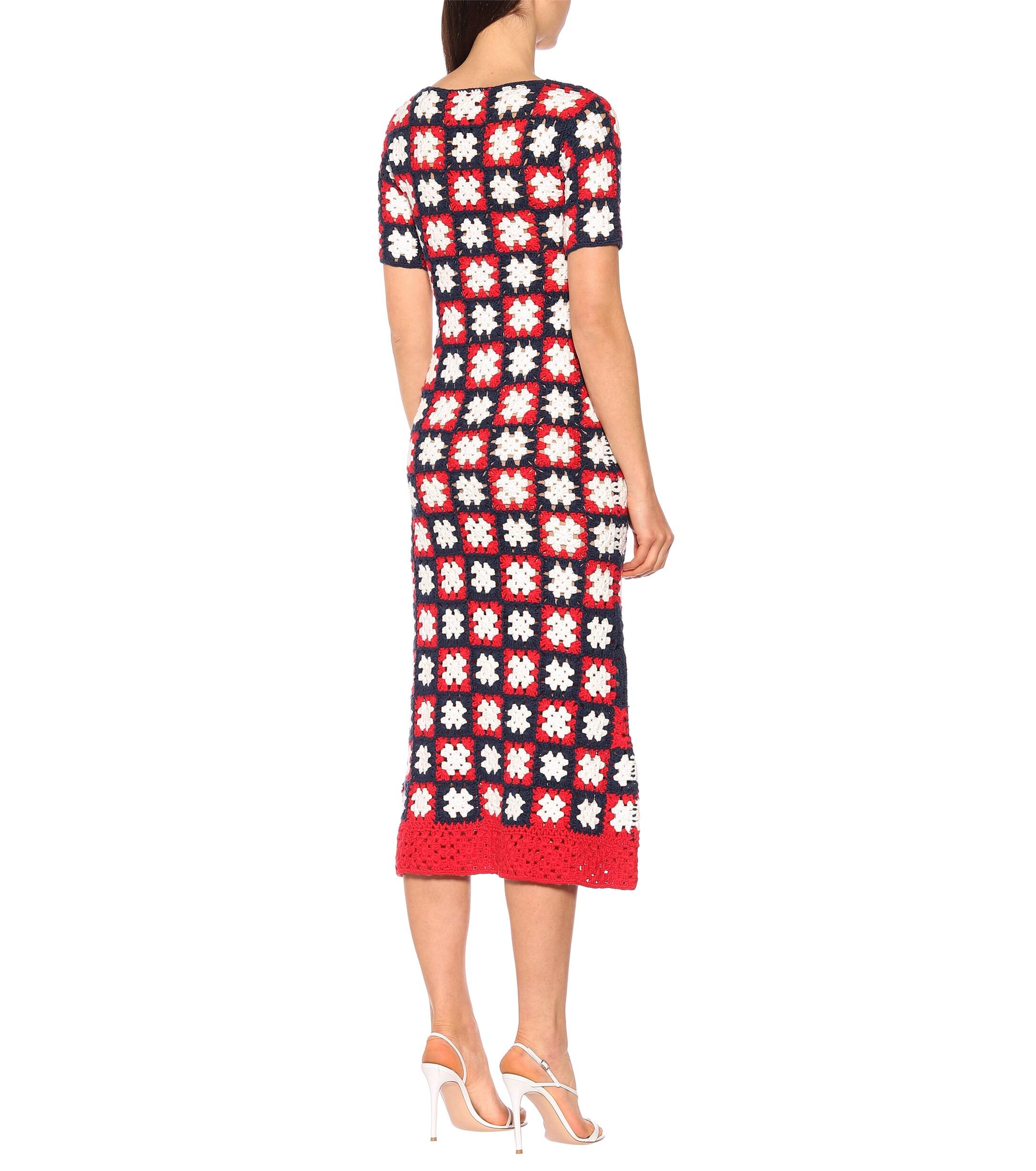 Robe longue Mare en crochet STAUD en coloris Rouge