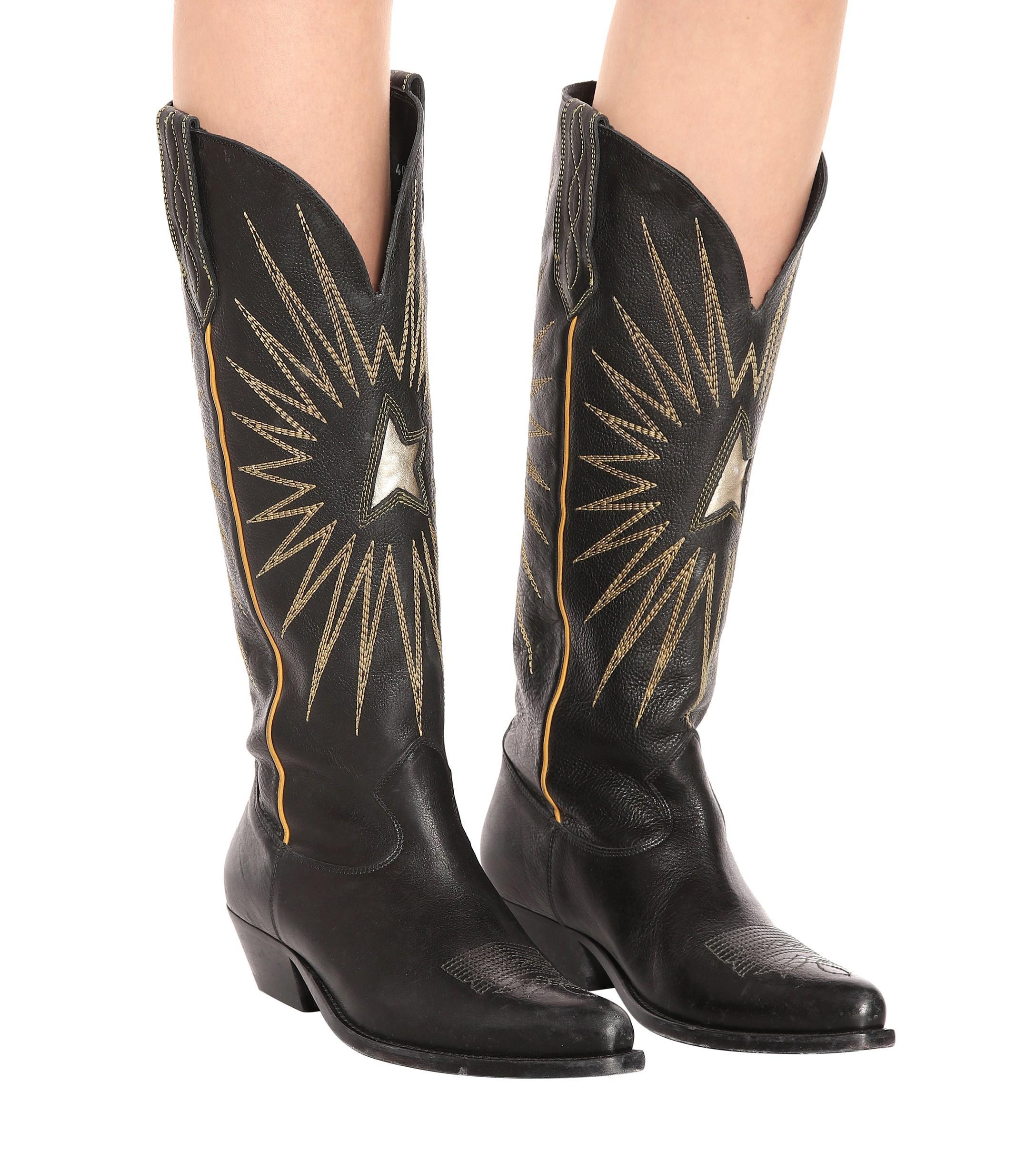 57aaf210318 Women's Black Wish Star Leather Cowboy Boots