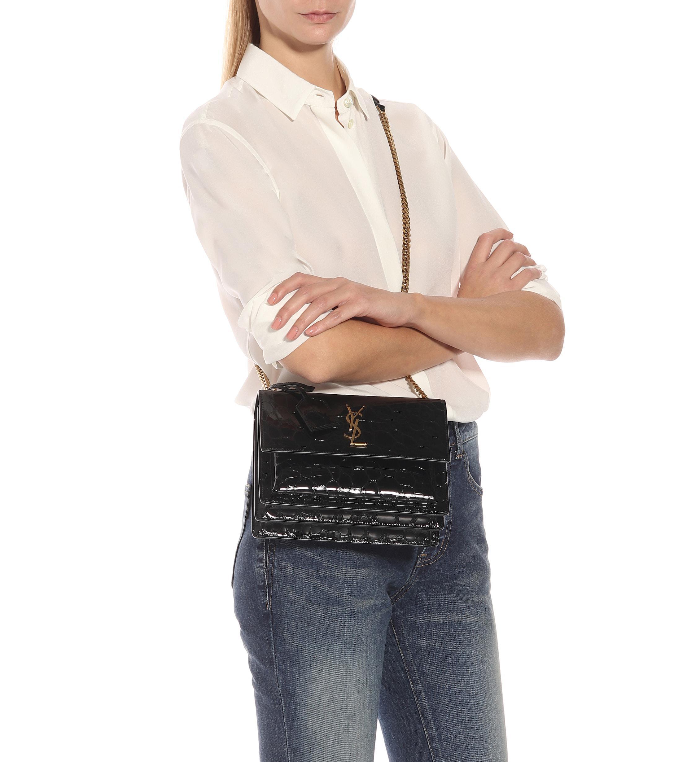 04f3cd8a14 Saint Laurent - Black Medium Sunset Monogram Shoulder Bag - Lyst. View  fullscreen