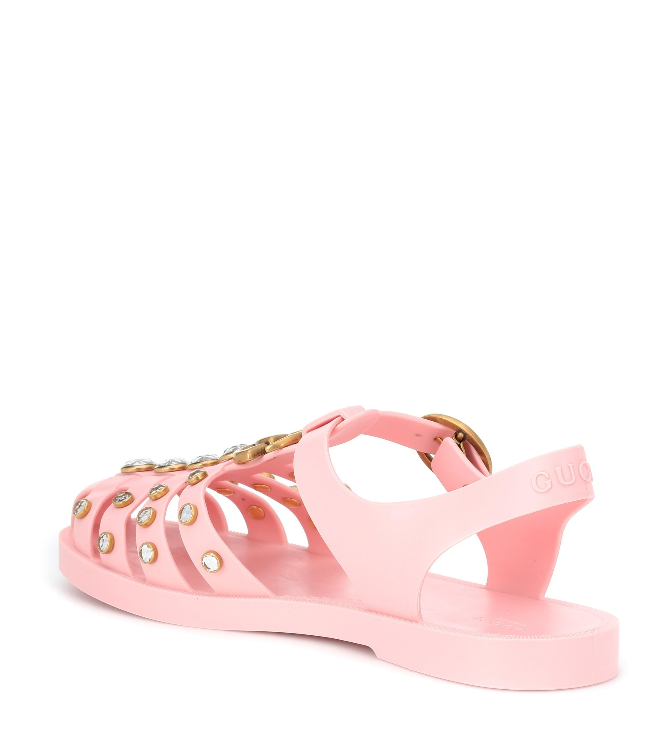 gucci jelly sandals pink