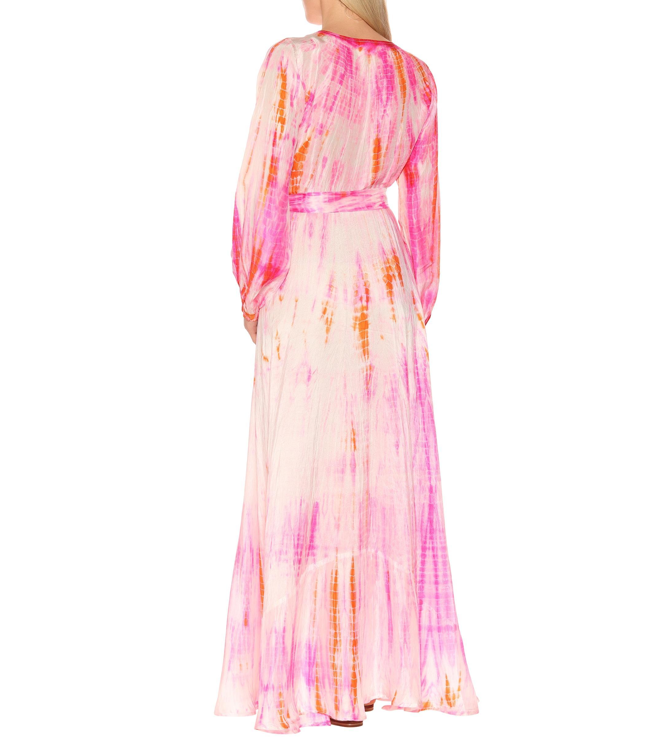 Vestido largo de seda tie-dye Anna Kosturova de Seda de color Rosa