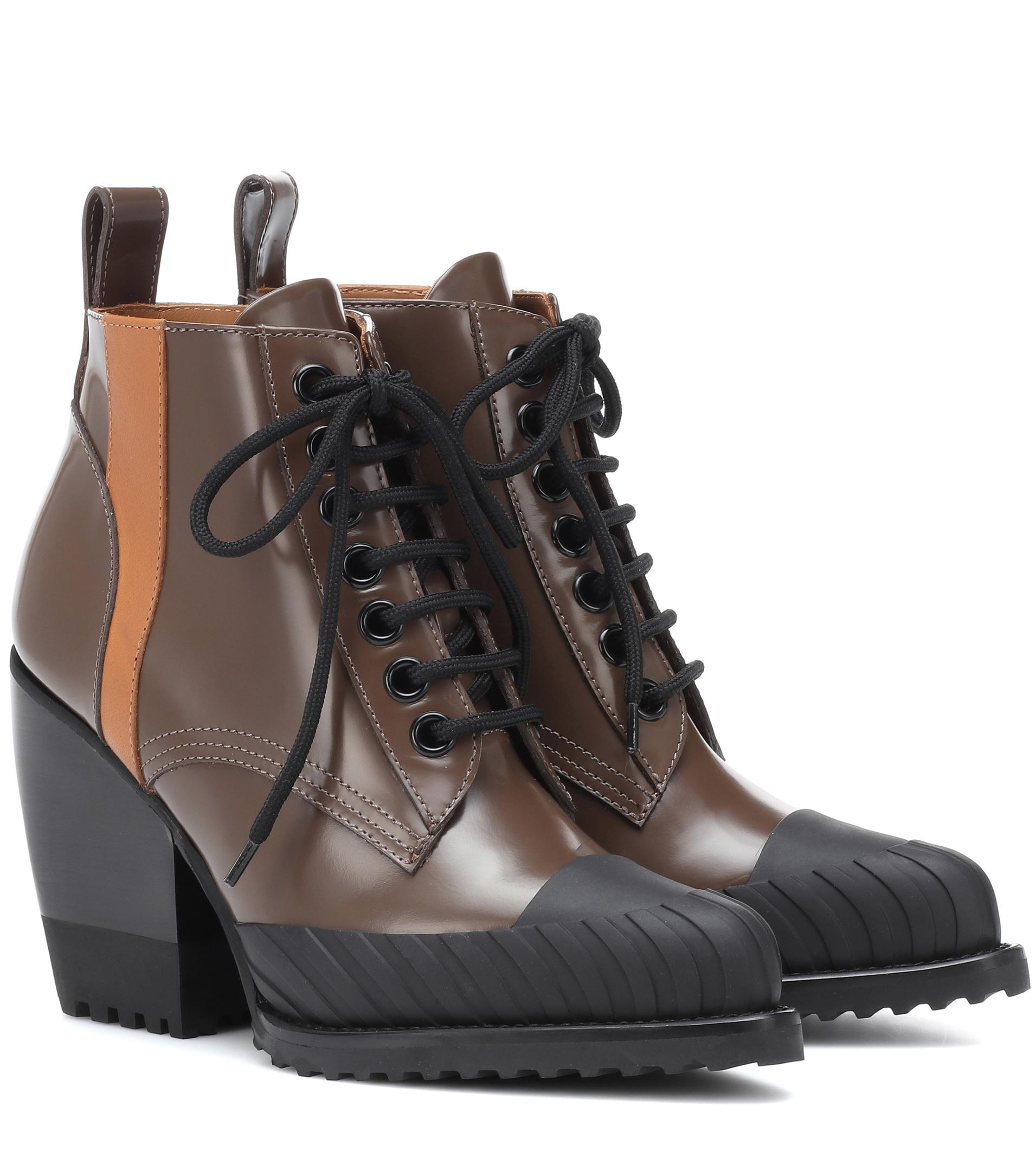 Chlo 233 Rylee Leather Lace Up Boots In Brown Lyst