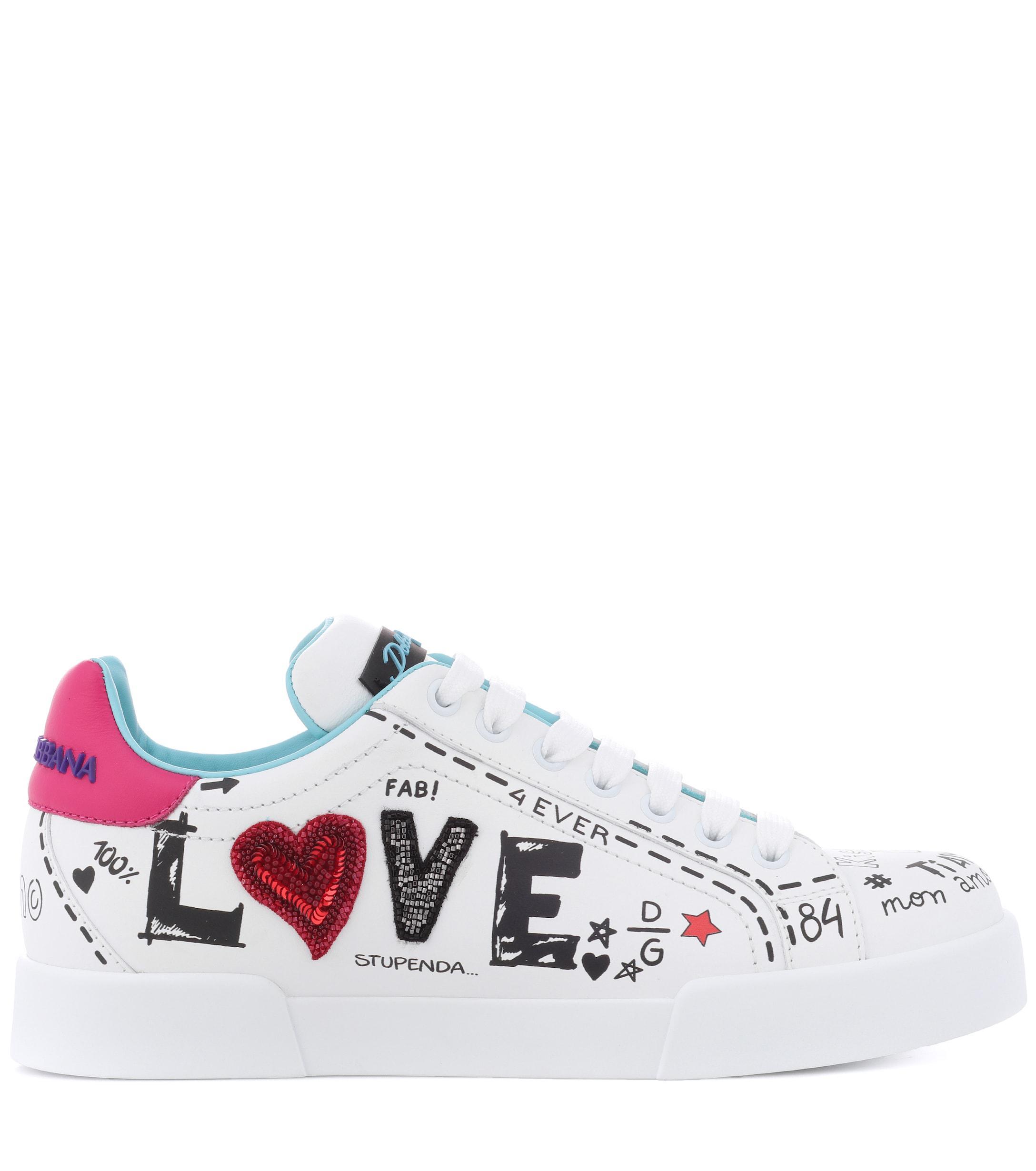 Women's White Portofino Leather Sneakers