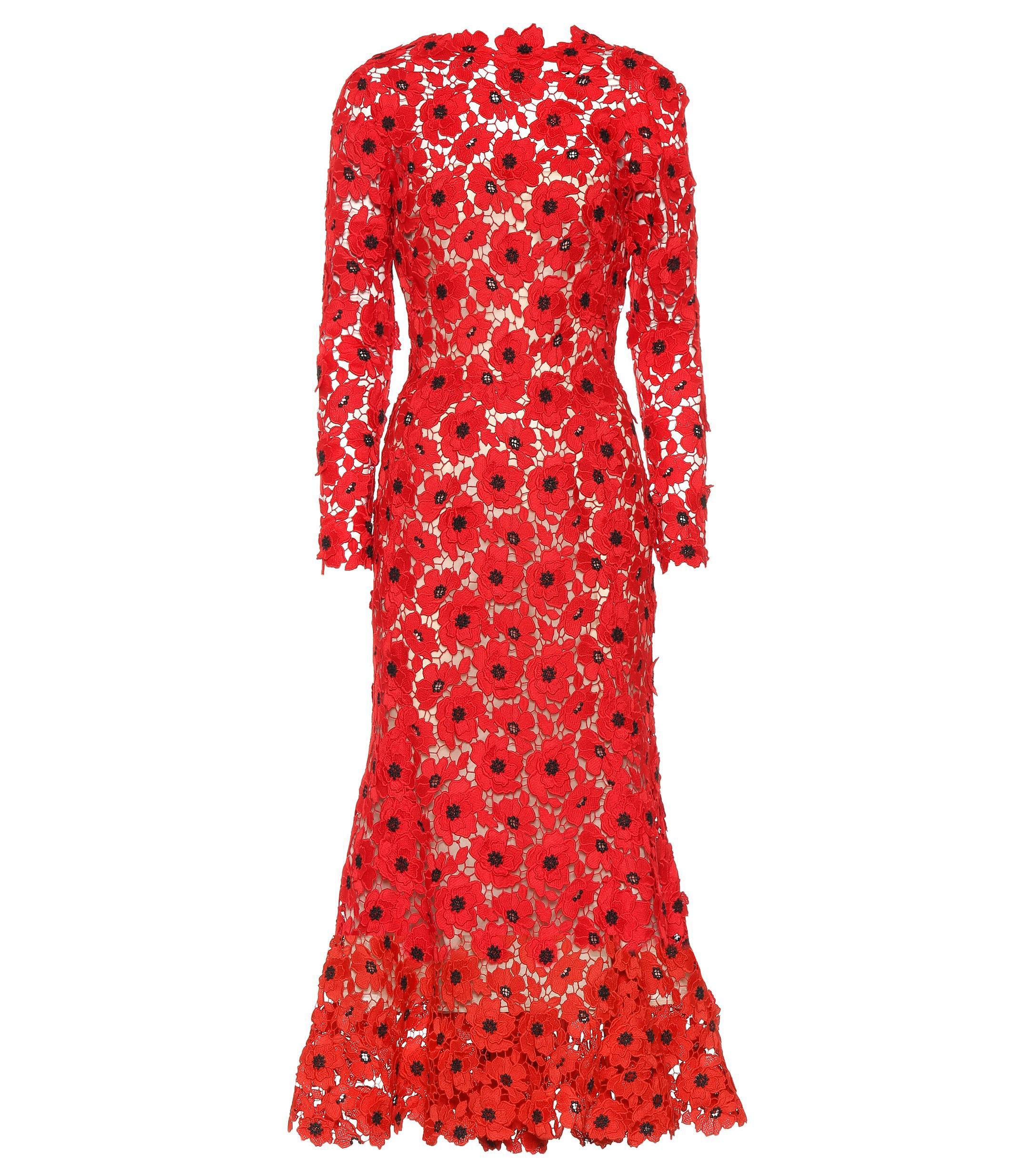 07ffb5fcb66a8 Oscar de la Renta Floral Guipure Lace Dress in Red - Lyst