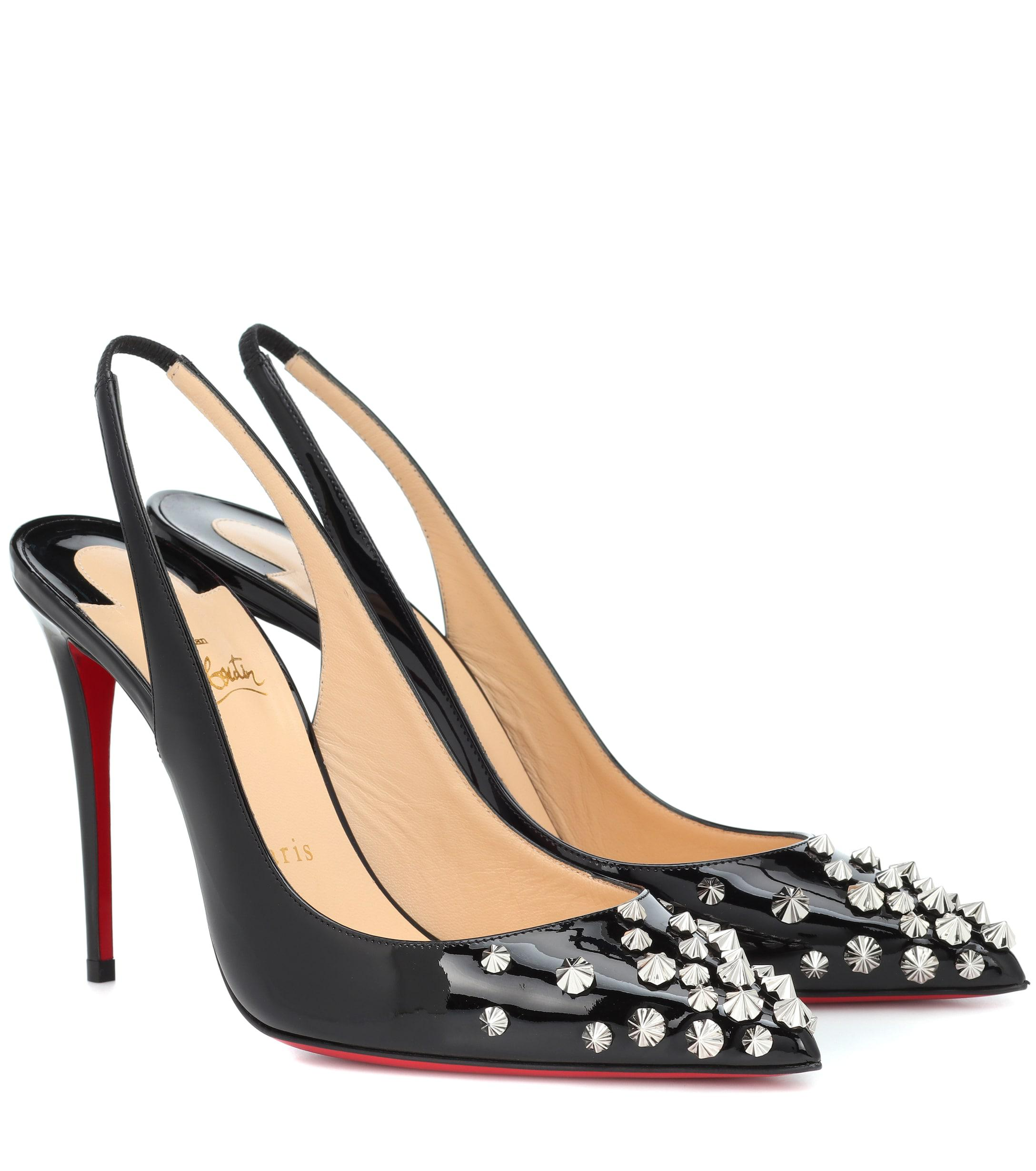 2e9f7b8673d1 Christian Louboutin Drama Sling 100 Patent Leather Pumps in Black - Lyst