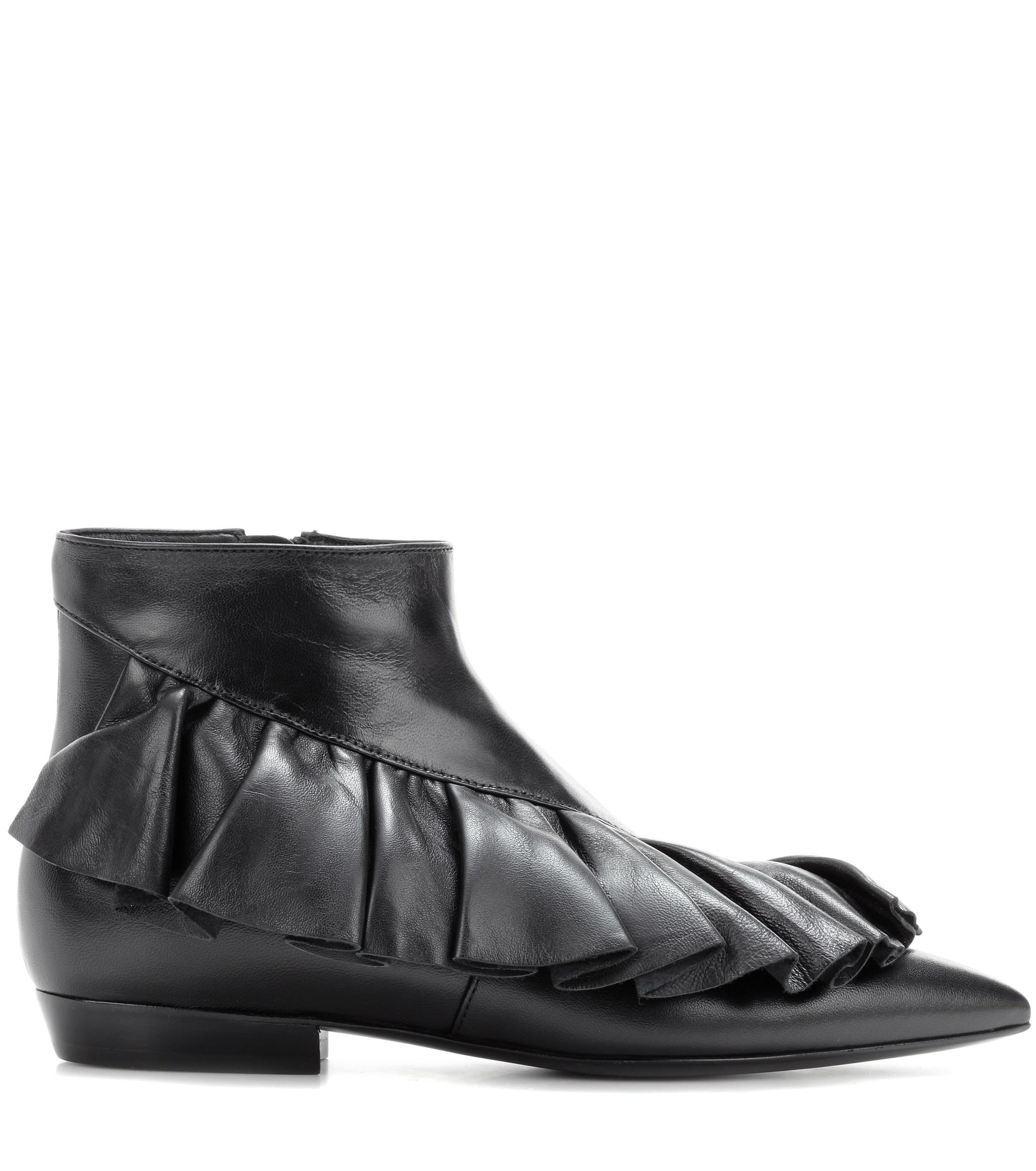 JW Anderson Ruffle Leather Ankle Boots in Black