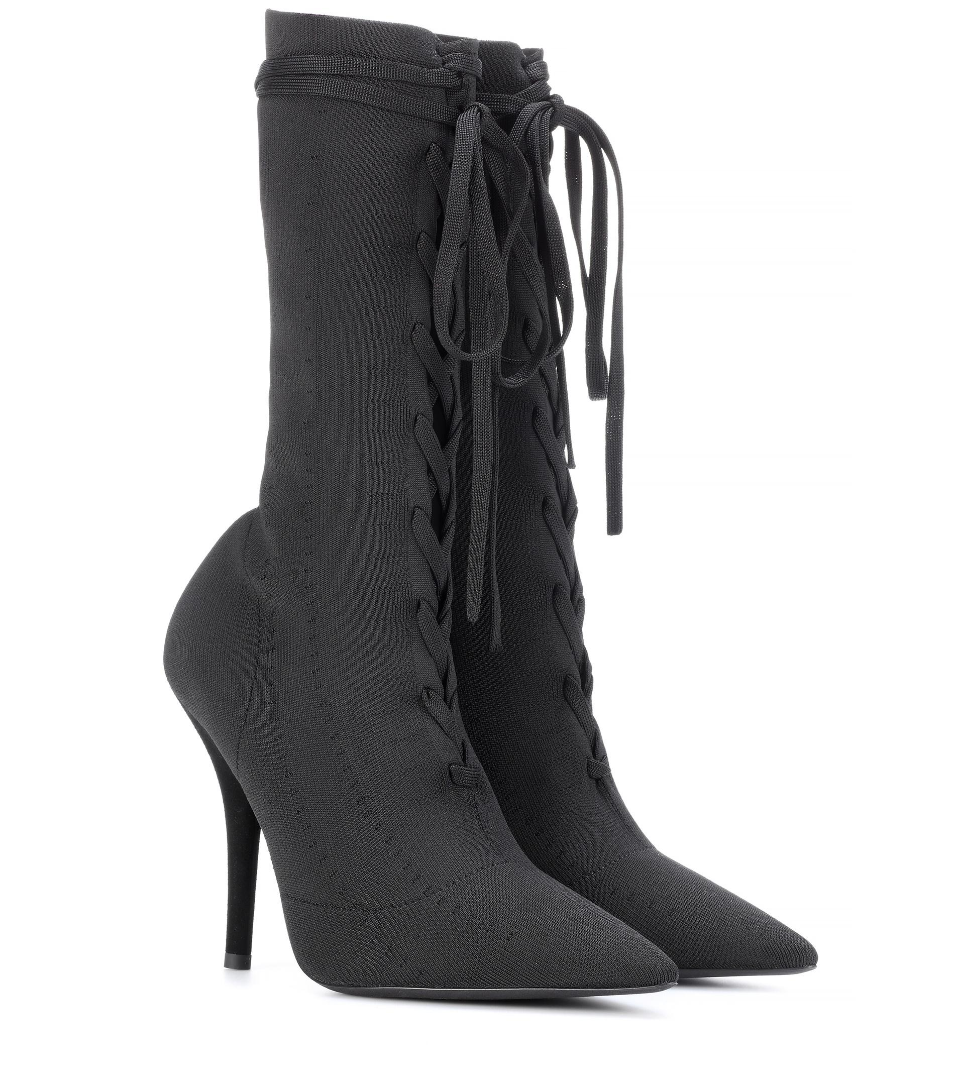 2e4be48e427f Lyst - Yeezy Lace-up Knit Ankle Boots (season 5) in Black