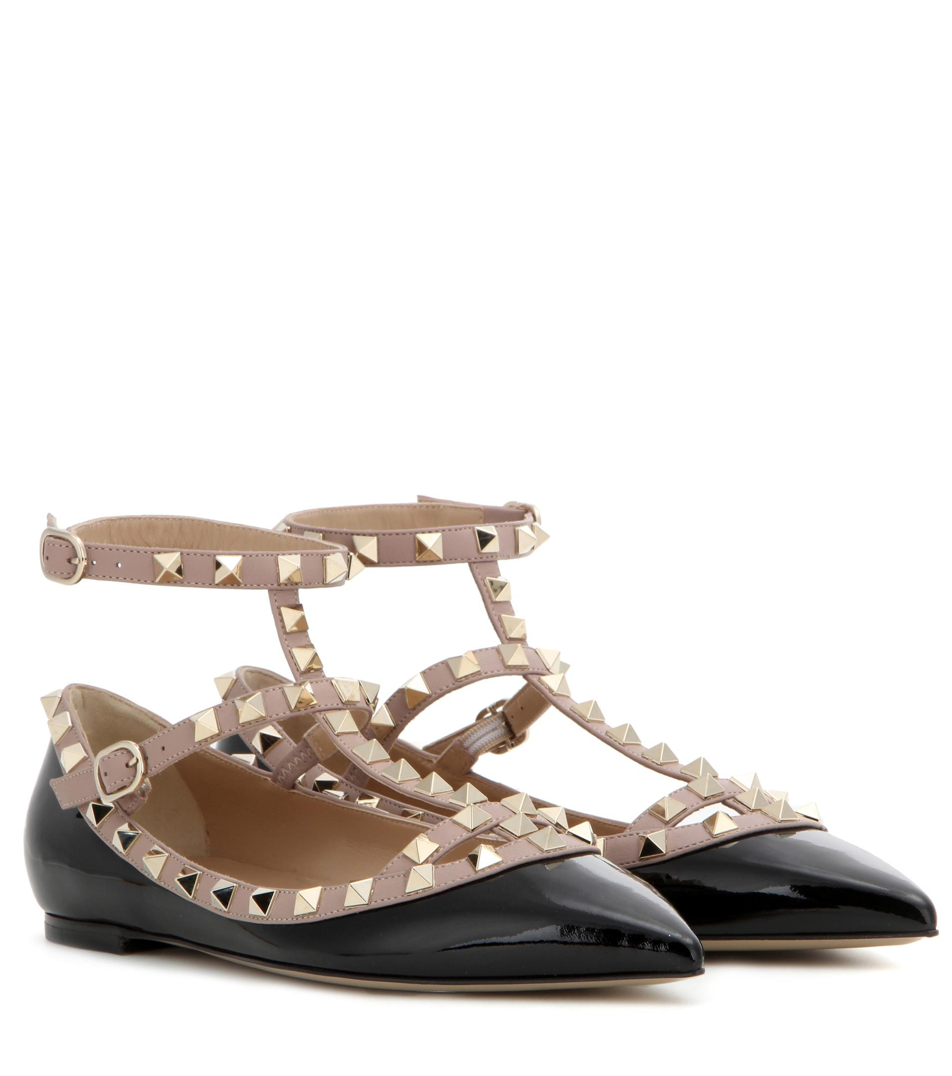 1b568d98f297 Valentino Rockstud Patent Leather Ballerinas in Pink - Save 53% - Lyst